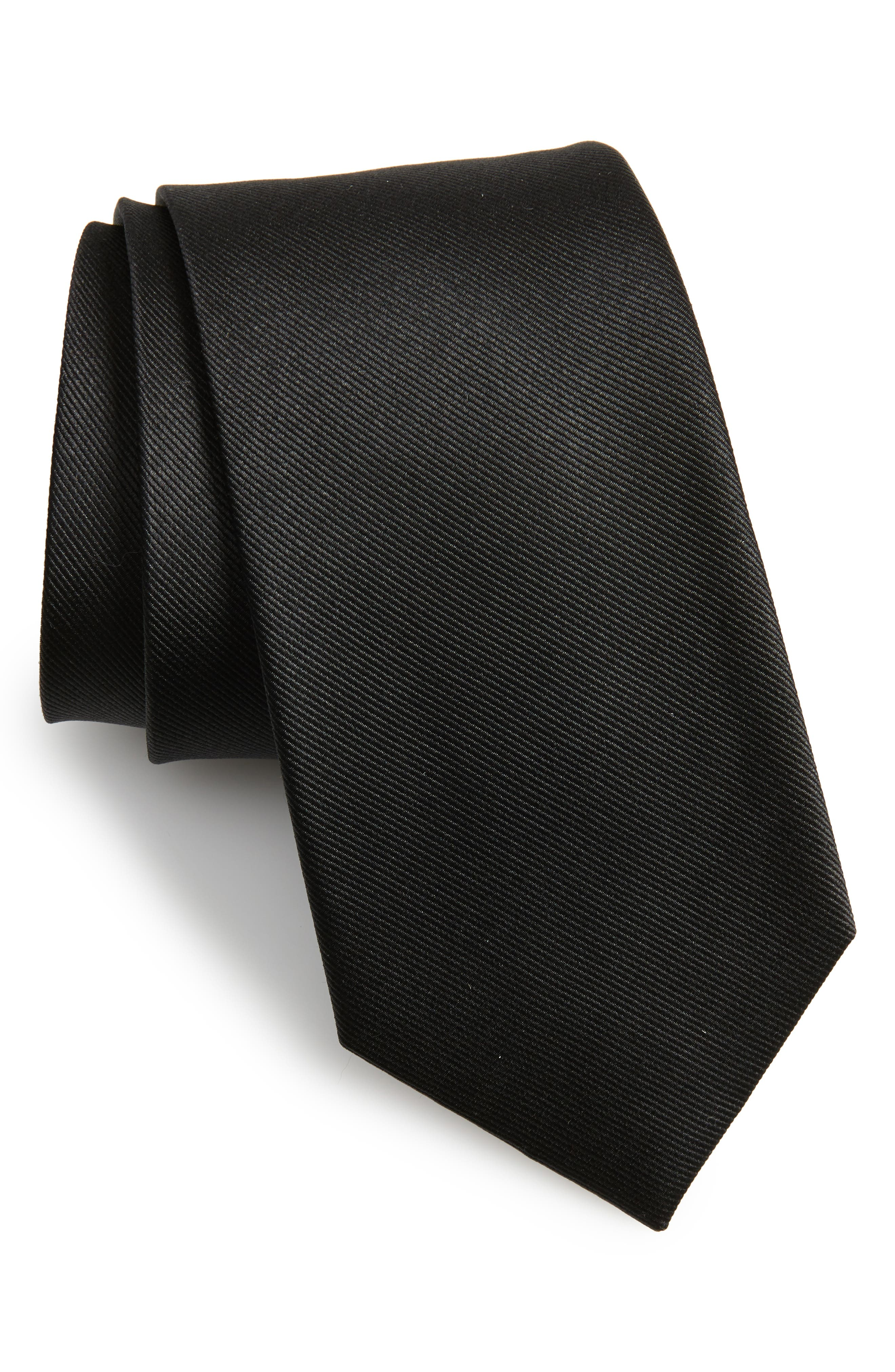 THE TIE BAR,                             Solid Silk Tie,                             Main thumbnail 1, color,                             BLACK