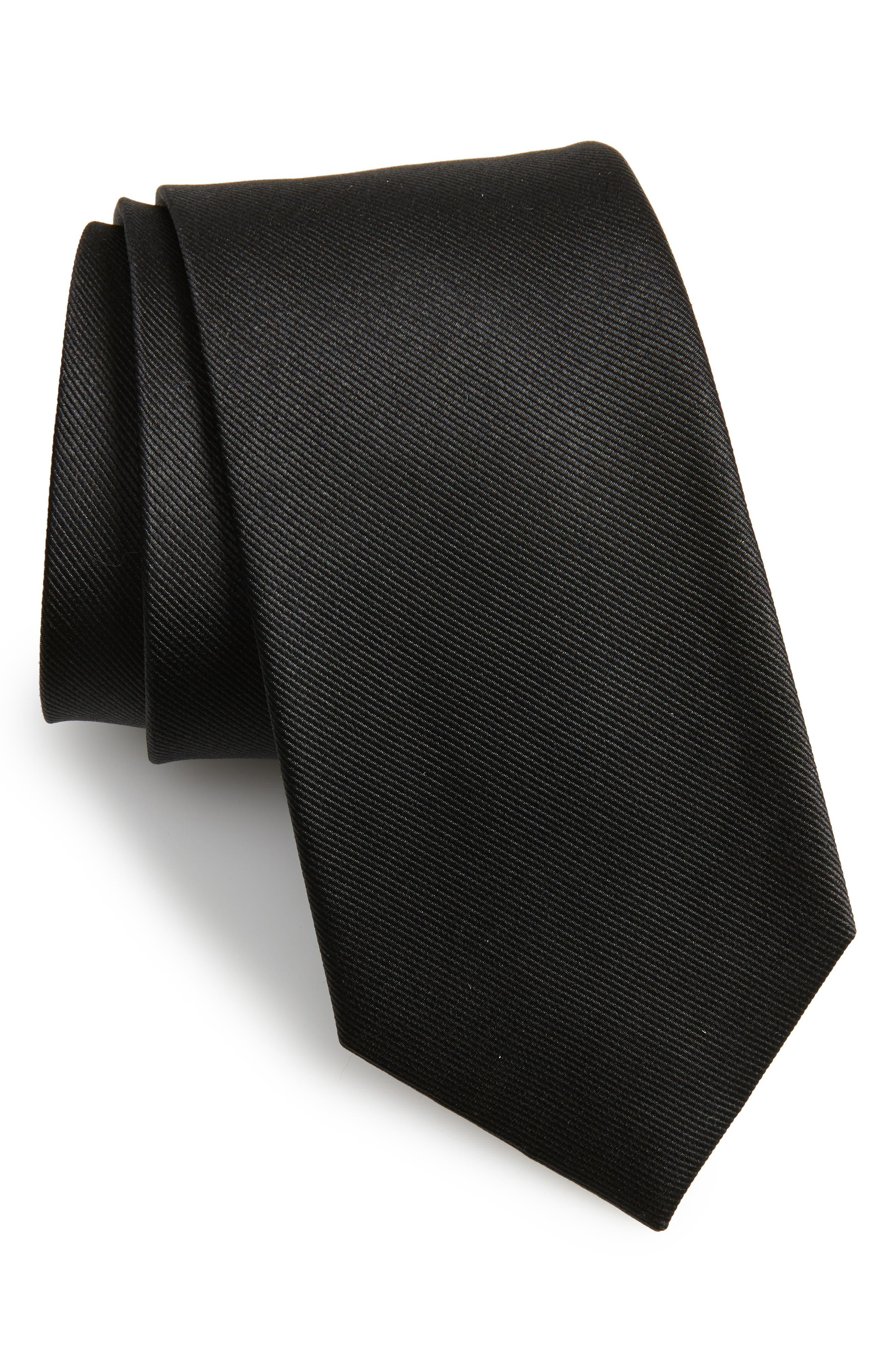 THE TIE BAR Solid Silk Tie, Main, color, BLACK