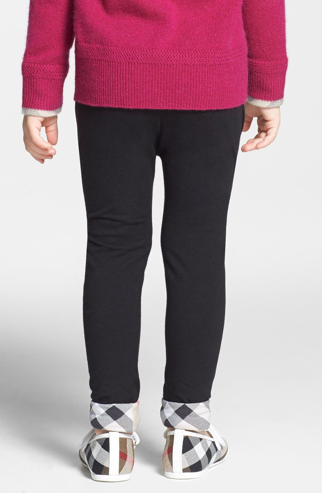 BURBERRY,                             Check Cuff Pants,                             Alternate thumbnail 4, color,                             001