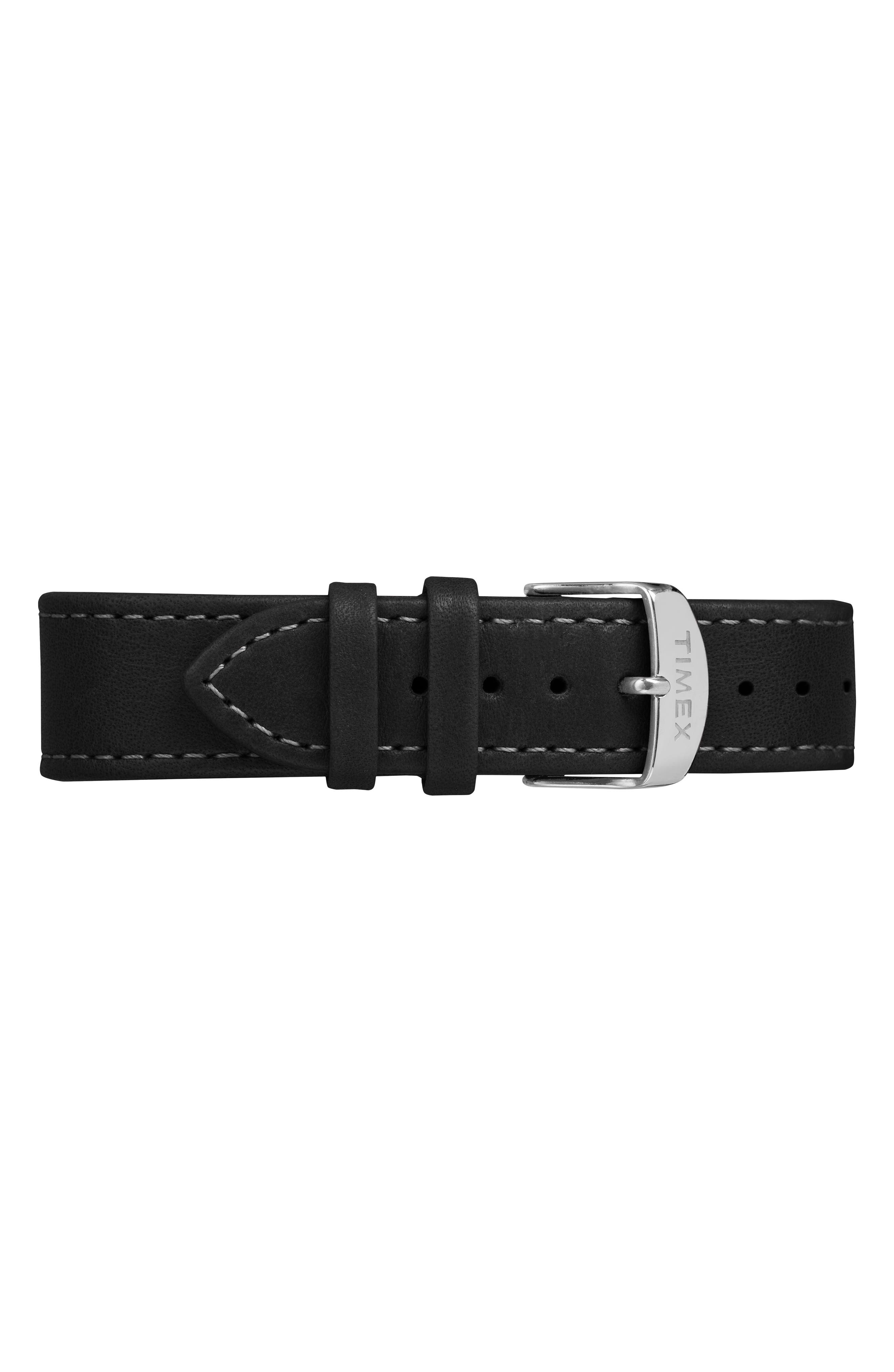 Waterbury Leather Strap Watch, 40mm,                             Alternate thumbnail 3, color,                             BLACK/ SILVER