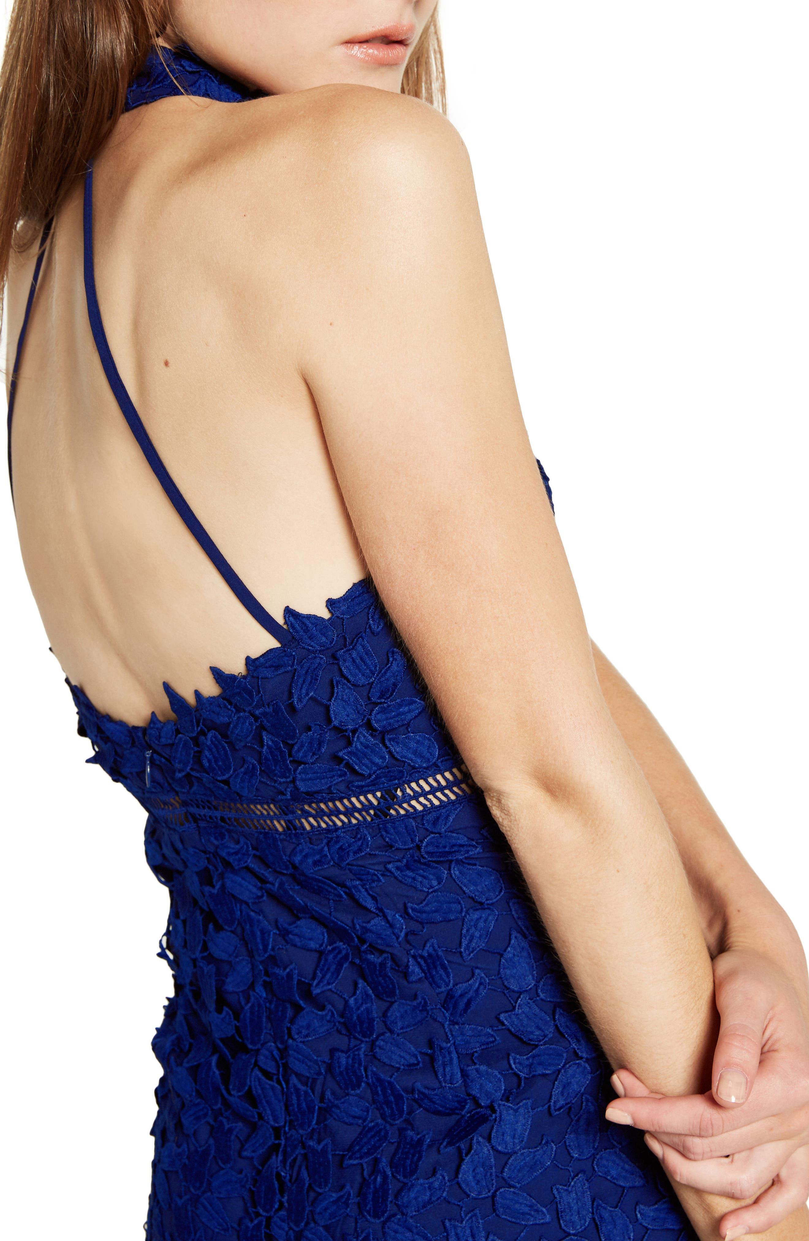 Gemma Halter Lace Sheath Dress,                             Alternate thumbnail 3, color,                             COBALT
