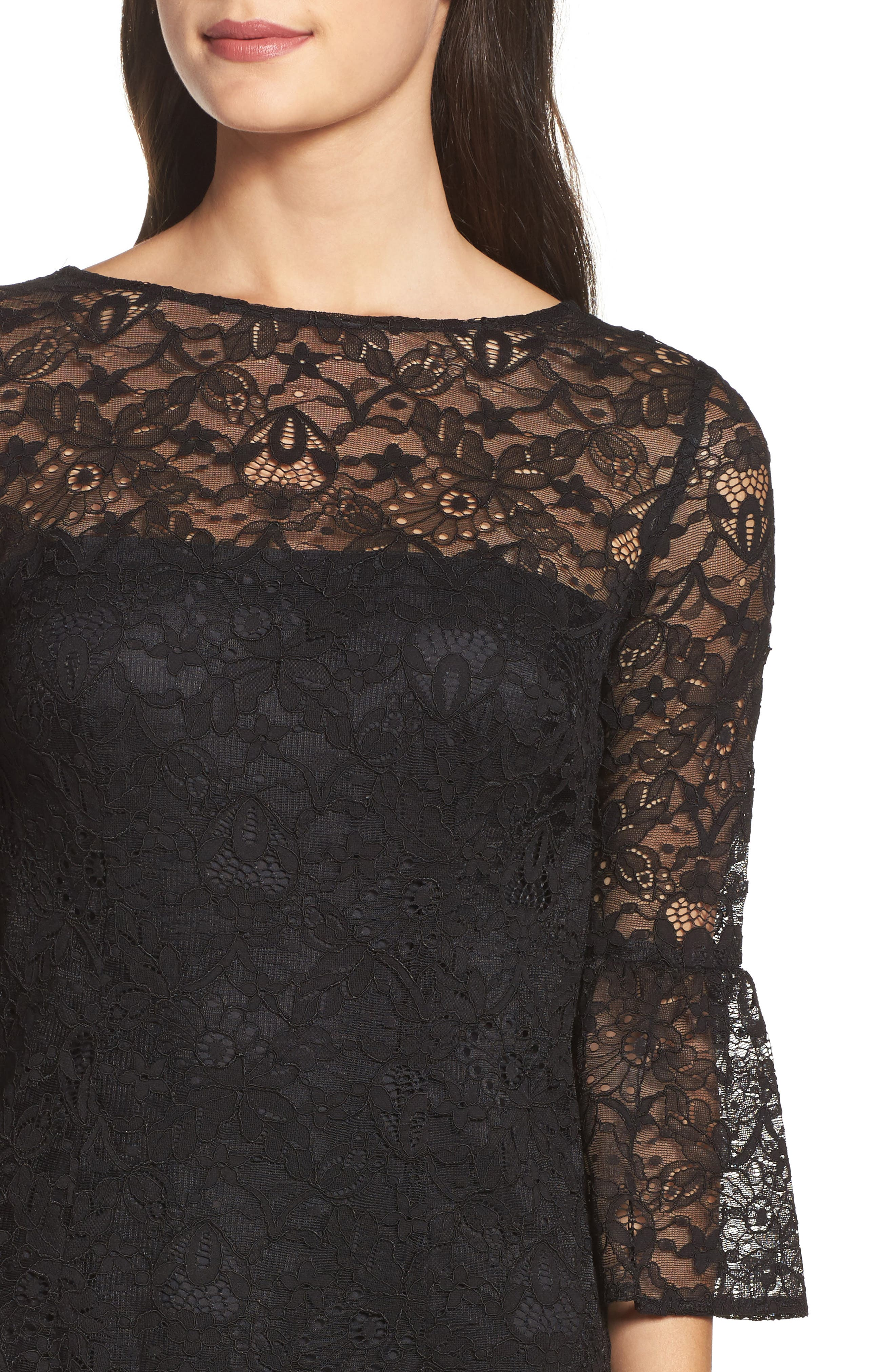 Billie Bell Sleeve Lace Dress,                             Alternate thumbnail 4, color,                             001