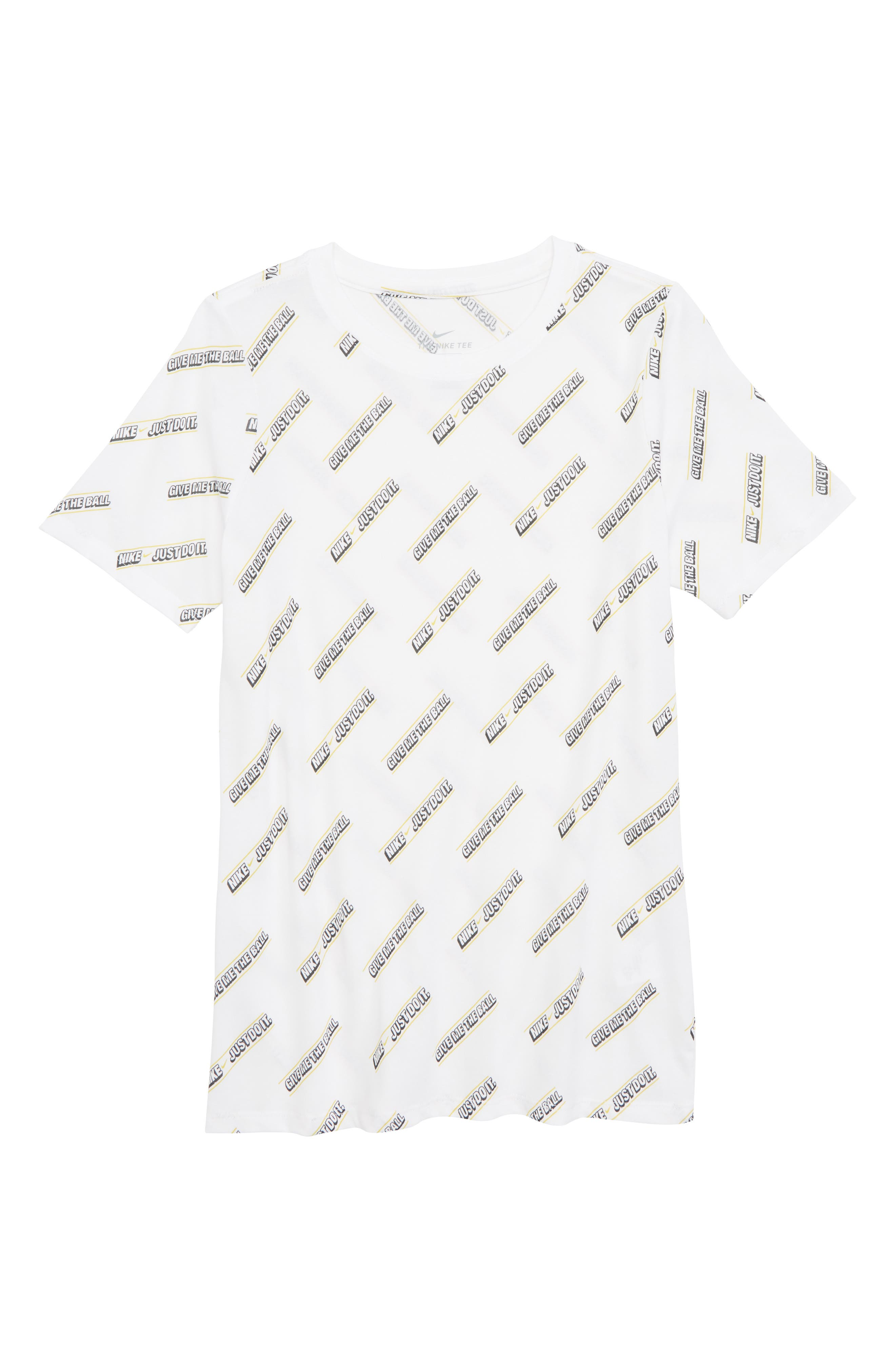 Dry Give Me the Ball Print T-Shirt,                         Main,                         color, WHITE