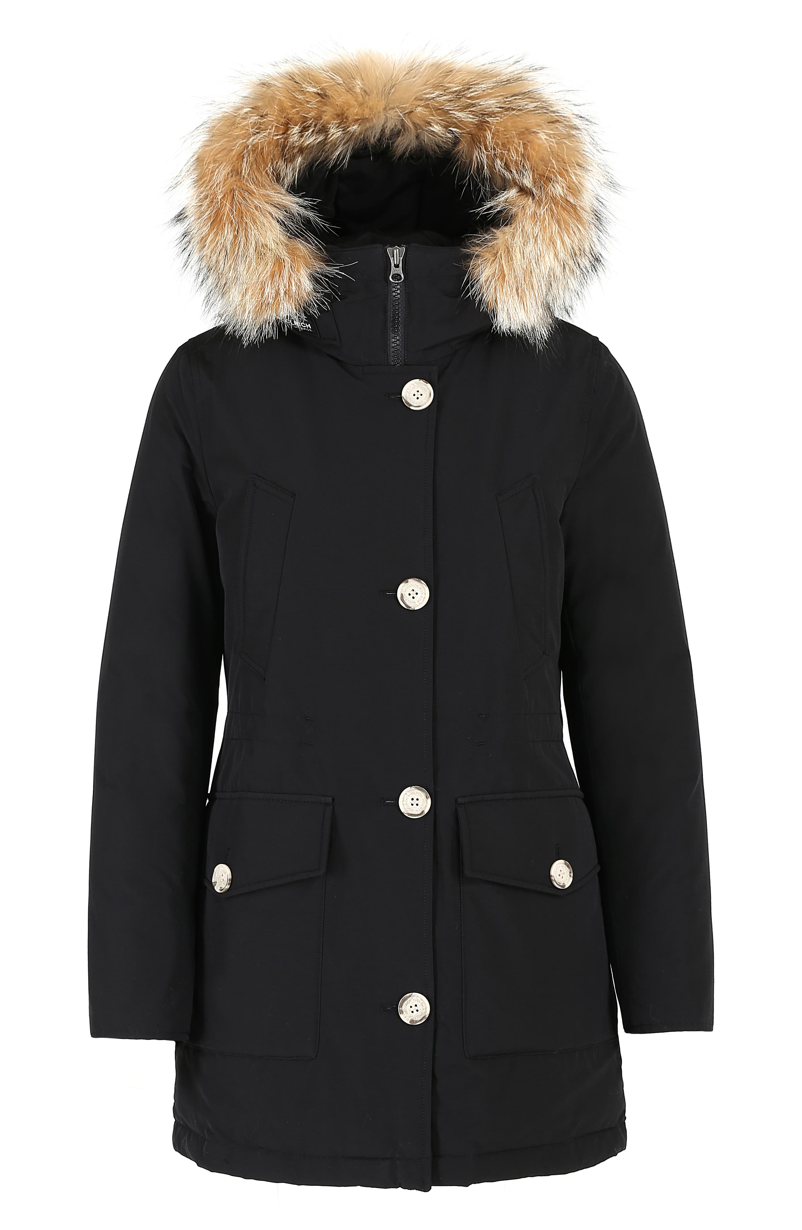 High Collar Arctic Down Parka with Genuine Coyote Fur Trim,                             Alternate thumbnail 5, color,                             BLACK