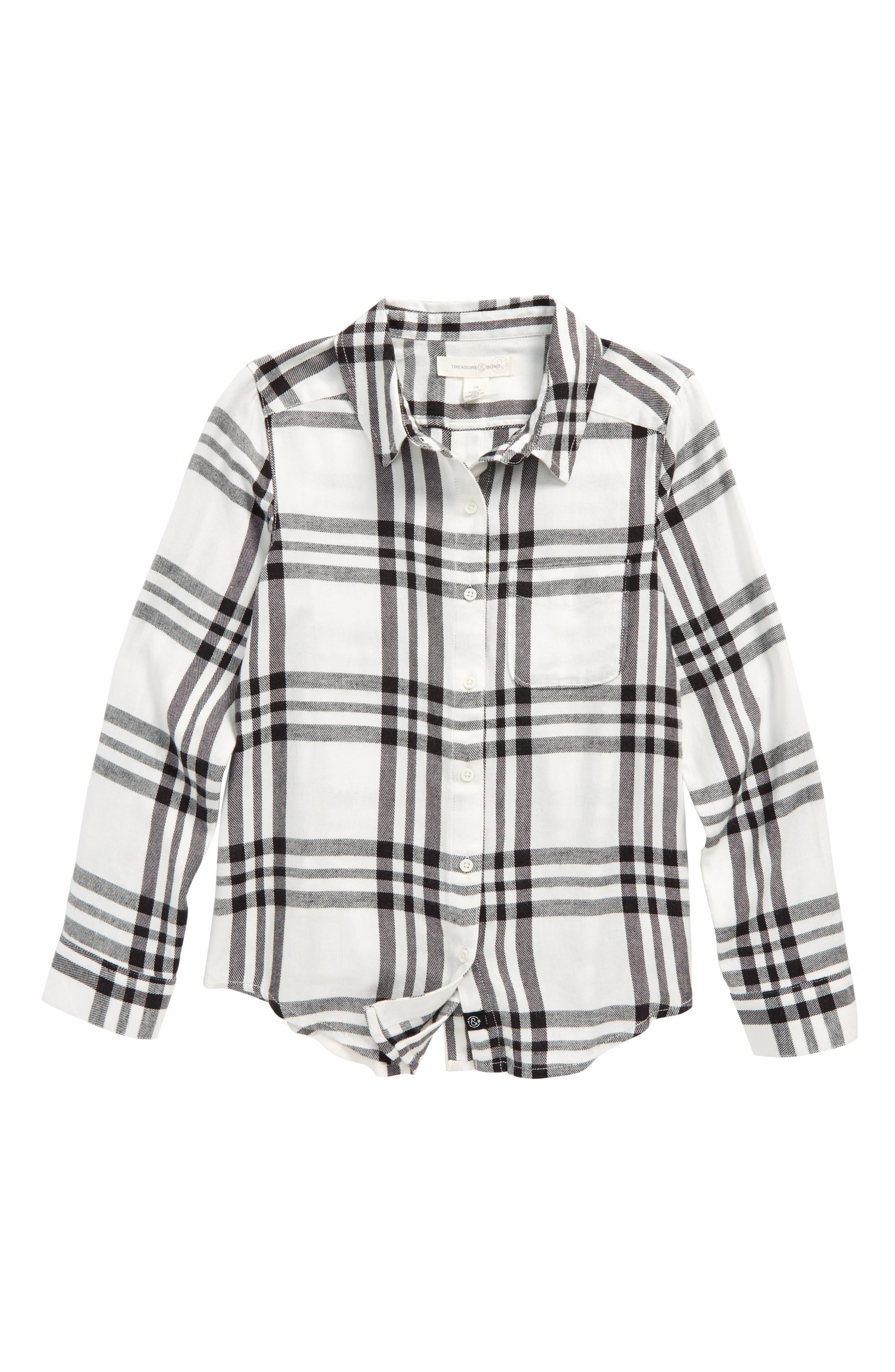 Jaspe Plaid Flannel Shirt,                             Main thumbnail 1, color,                             BLACK RAVEN BULLSEYE PLAID