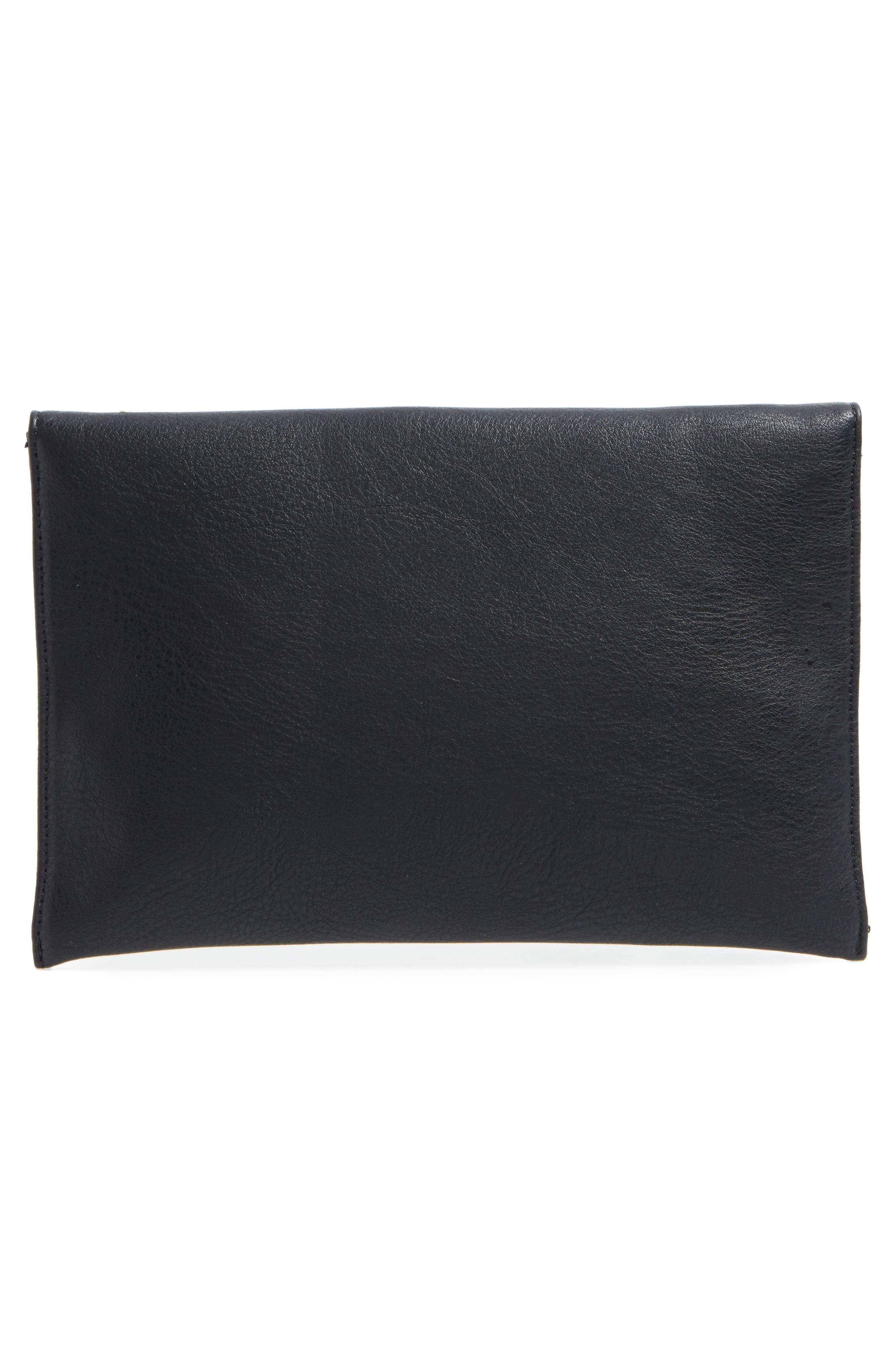 Faux Leather Envelope Clutch,                             Alternate thumbnail 3, color,                             001