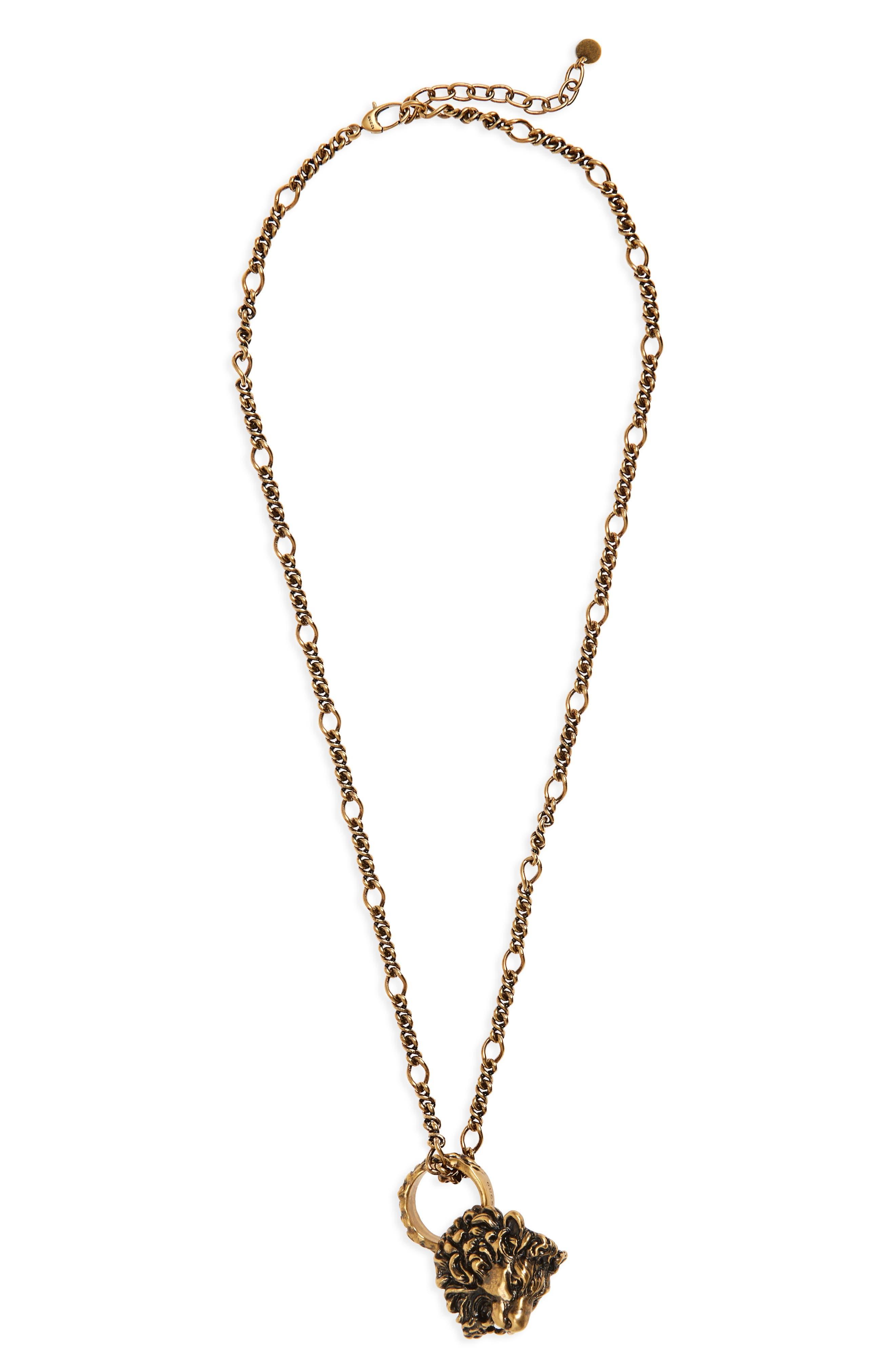 Lion Head Necklace,                         Main,                         color, 783