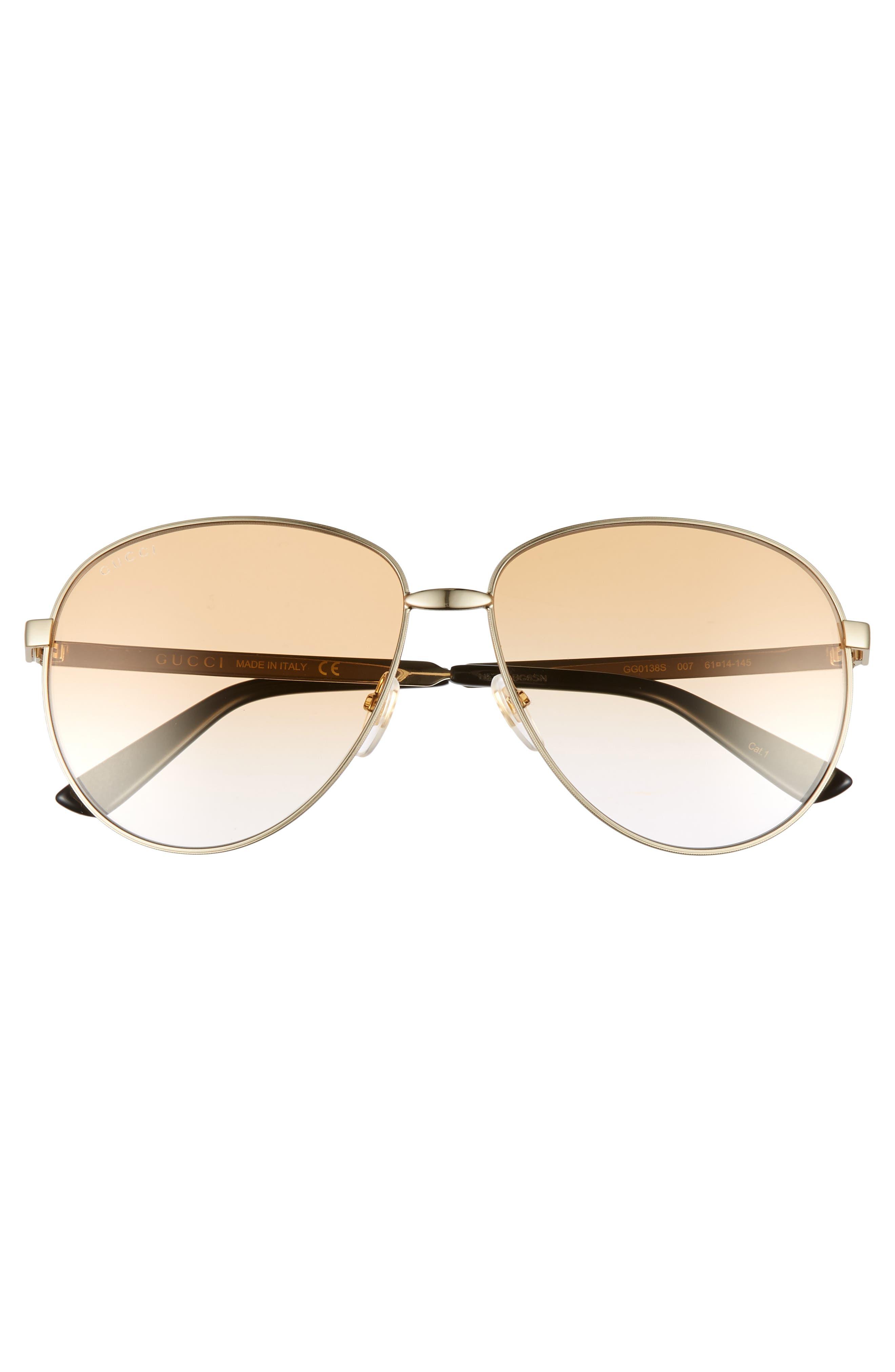 61mm Metal Aviator Sunglasses,                             Alternate thumbnail 3, color,                             GOLD/ BROWN GRADIENT
