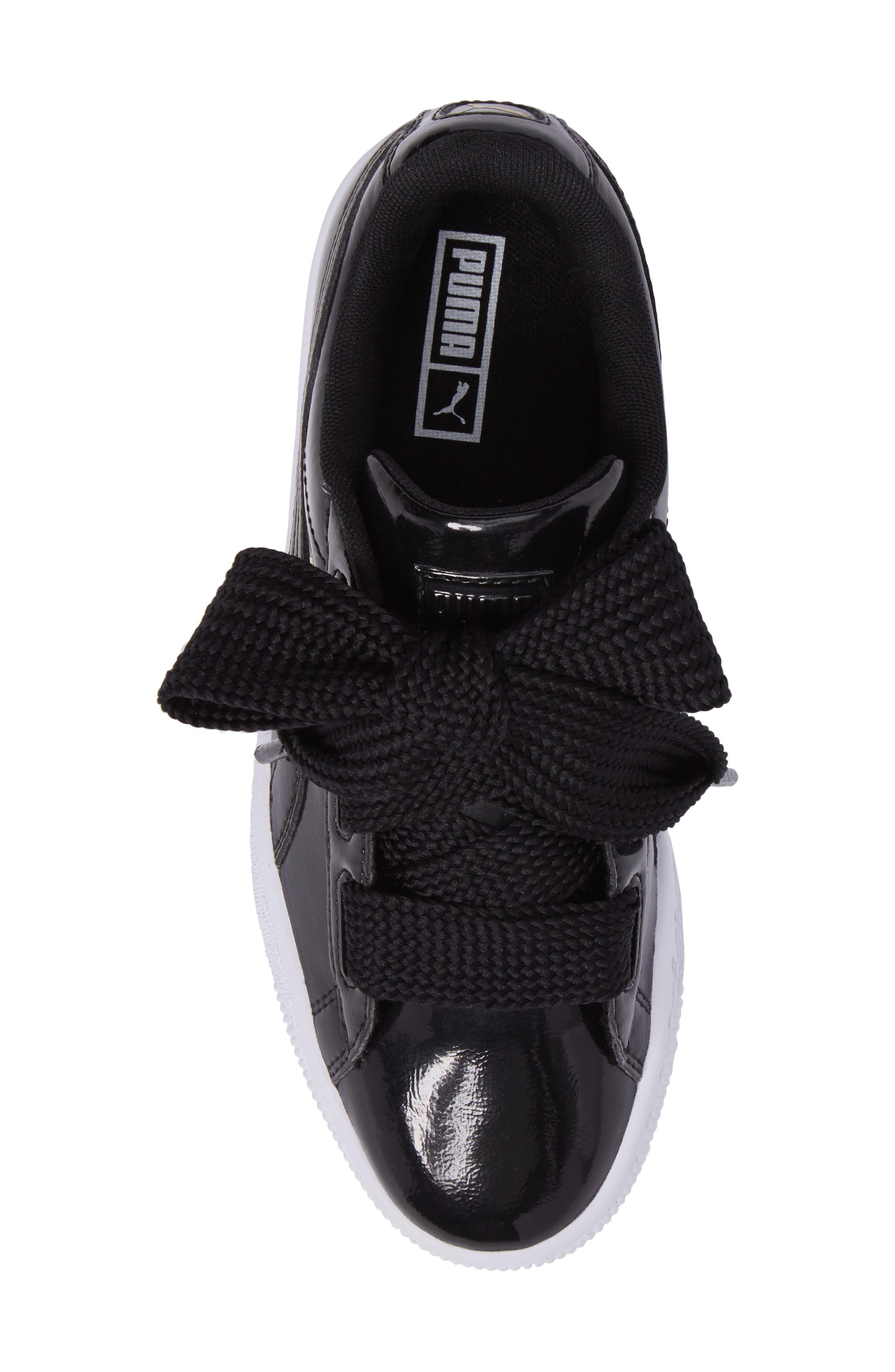 Basket Heart Glam Sneaker,                             Alternate thumbnail 5, color,                             001