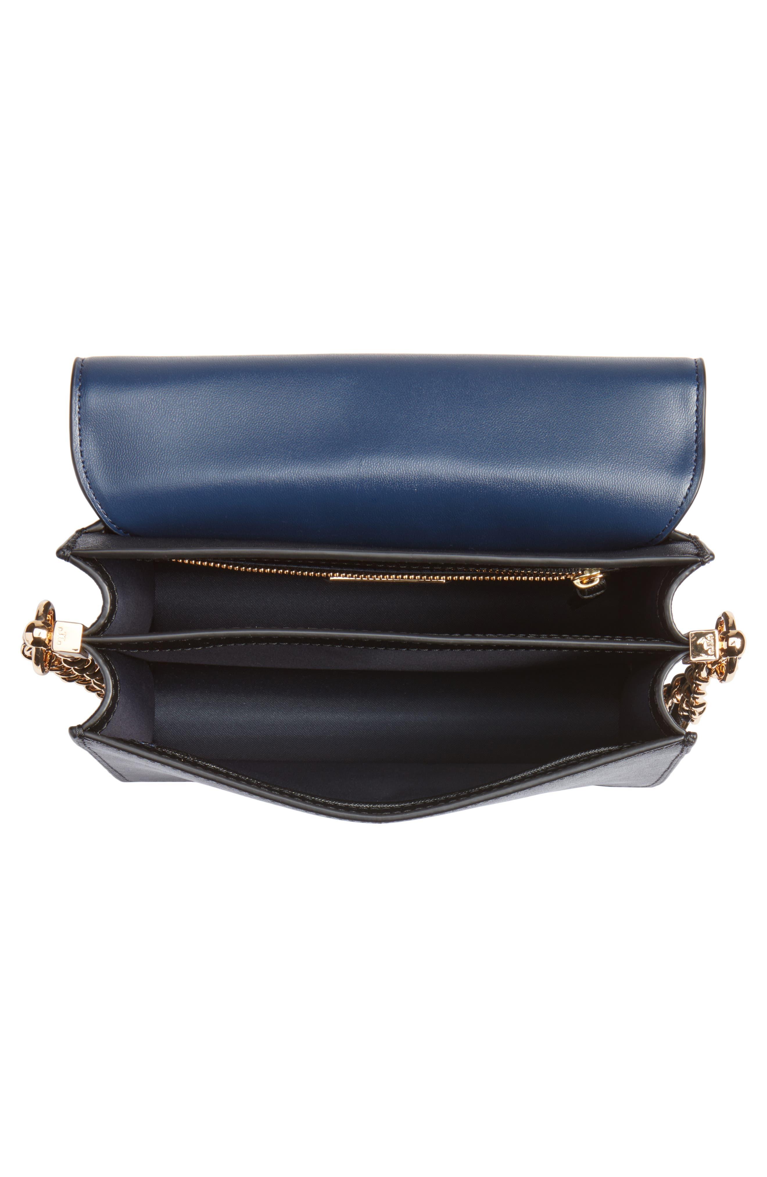 Robinson Convertible Leather Shoulder Bag,                             Alternate thumbnail 4, color,                             BLACK / ROYAL NAVY