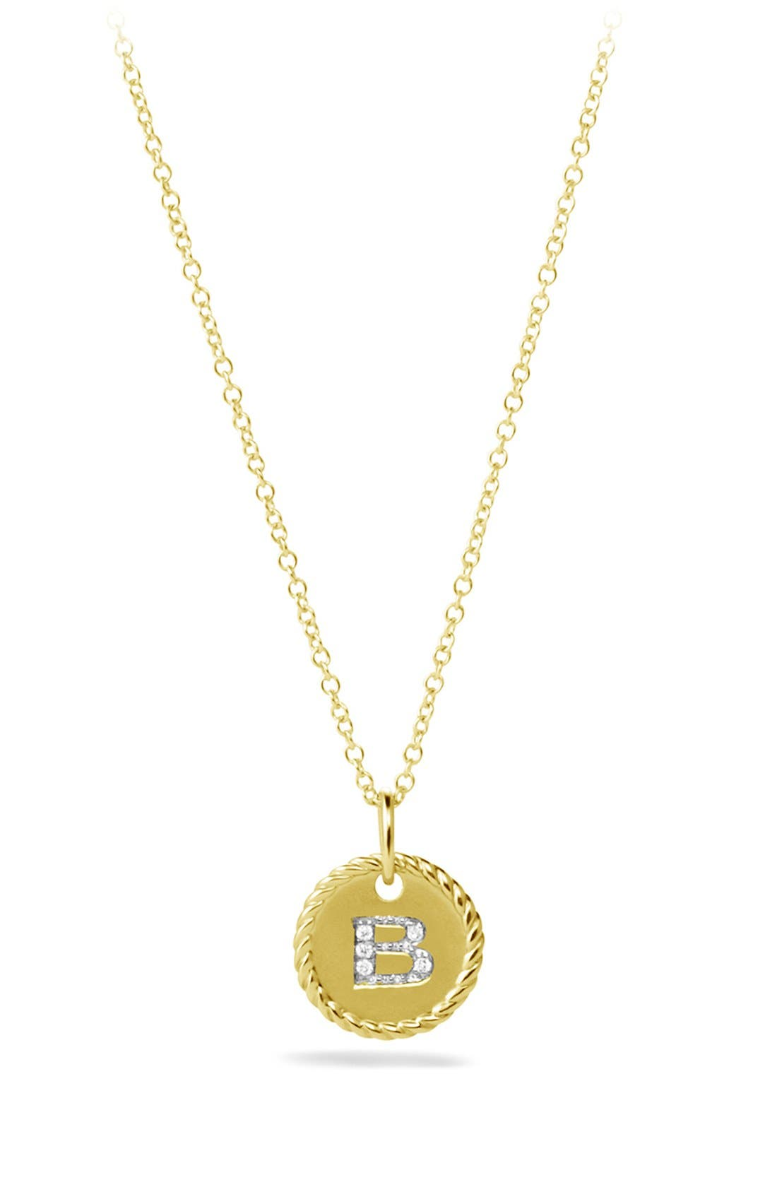 'Cable Collectibles' Initial Pendant with Diamonds in Gold on Chain,                             Main thumbnail 1, color,                             B