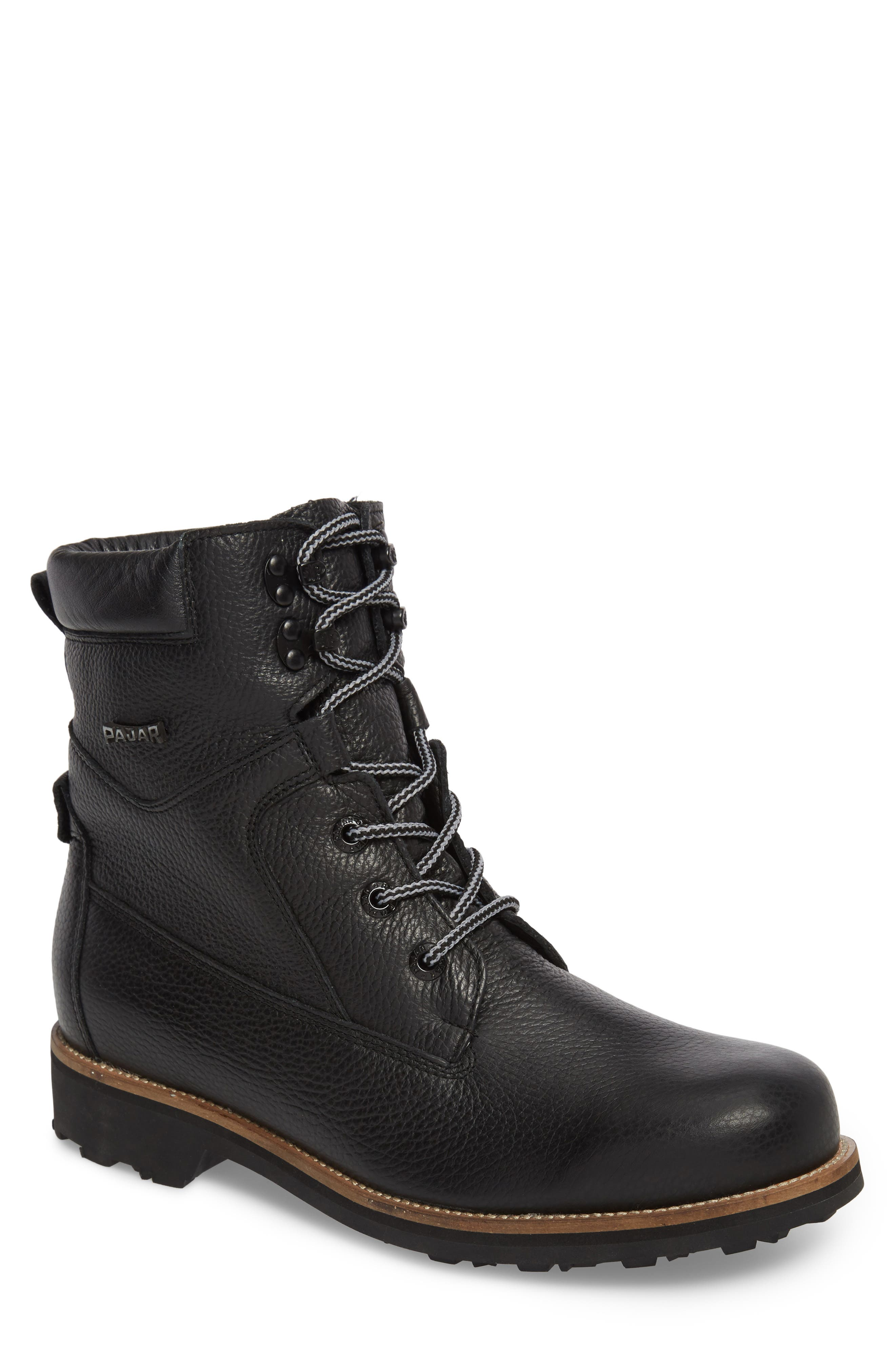 PAJAR,                             David Plain Toe Waterproof Boot,                             Main thumbnail 1, color,                             BLACK LEATHER
