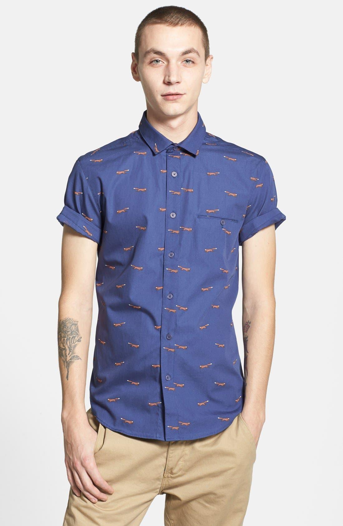Short Sleeve All Over Fox Print Shirt,                             Alternate thumbnail 5, color,                             401