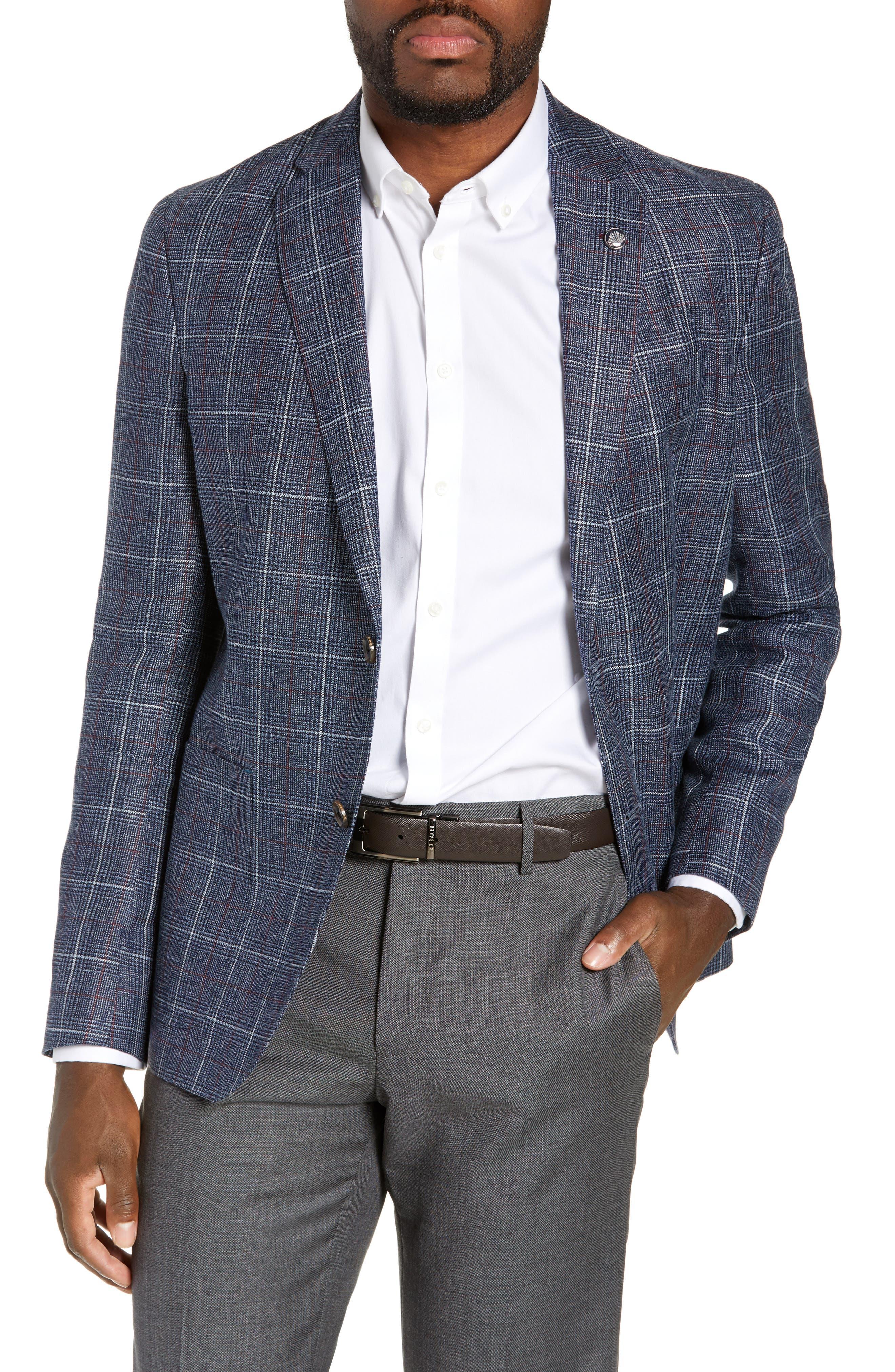 Kyle Trim Fit Plaid Linen Blend Sport Coat, Main, color, BLUE
