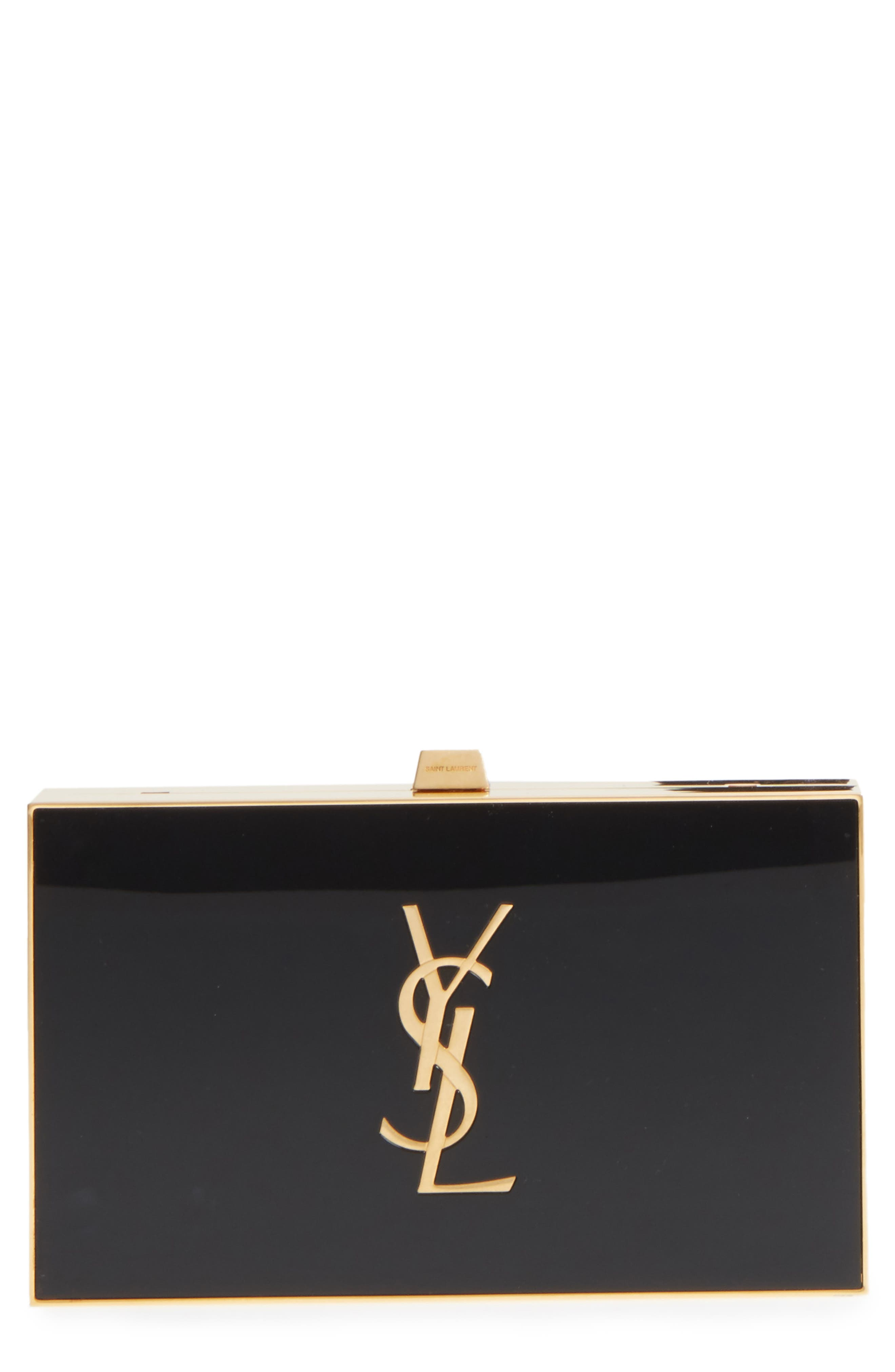 Monogram Tuxedo Box Clutch,                             Main thumbnail 1, color,                             NOIR/ GOLD