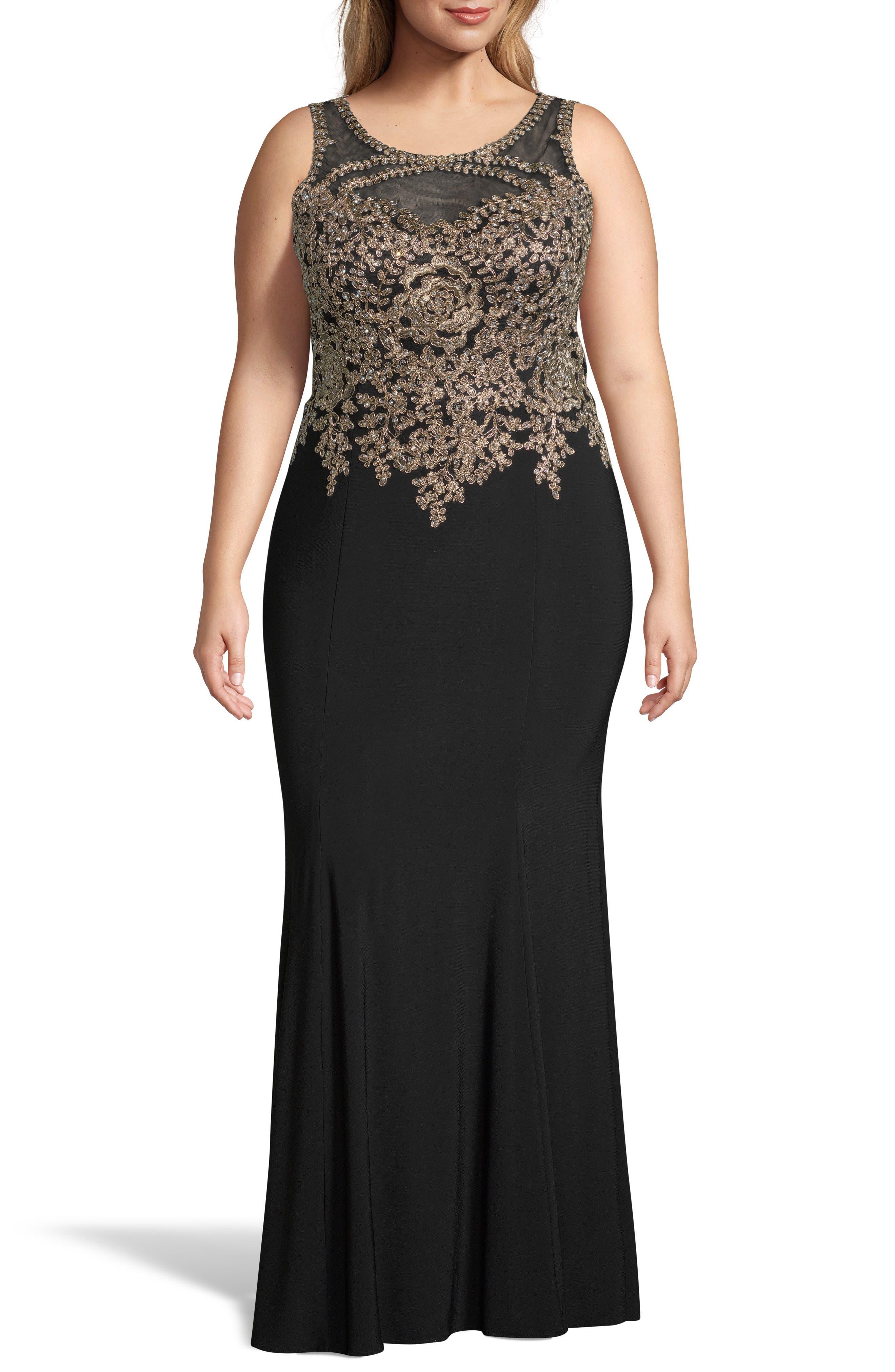 Plus Size Xscape Golden Embroidered Bodice Evening Dress, Black