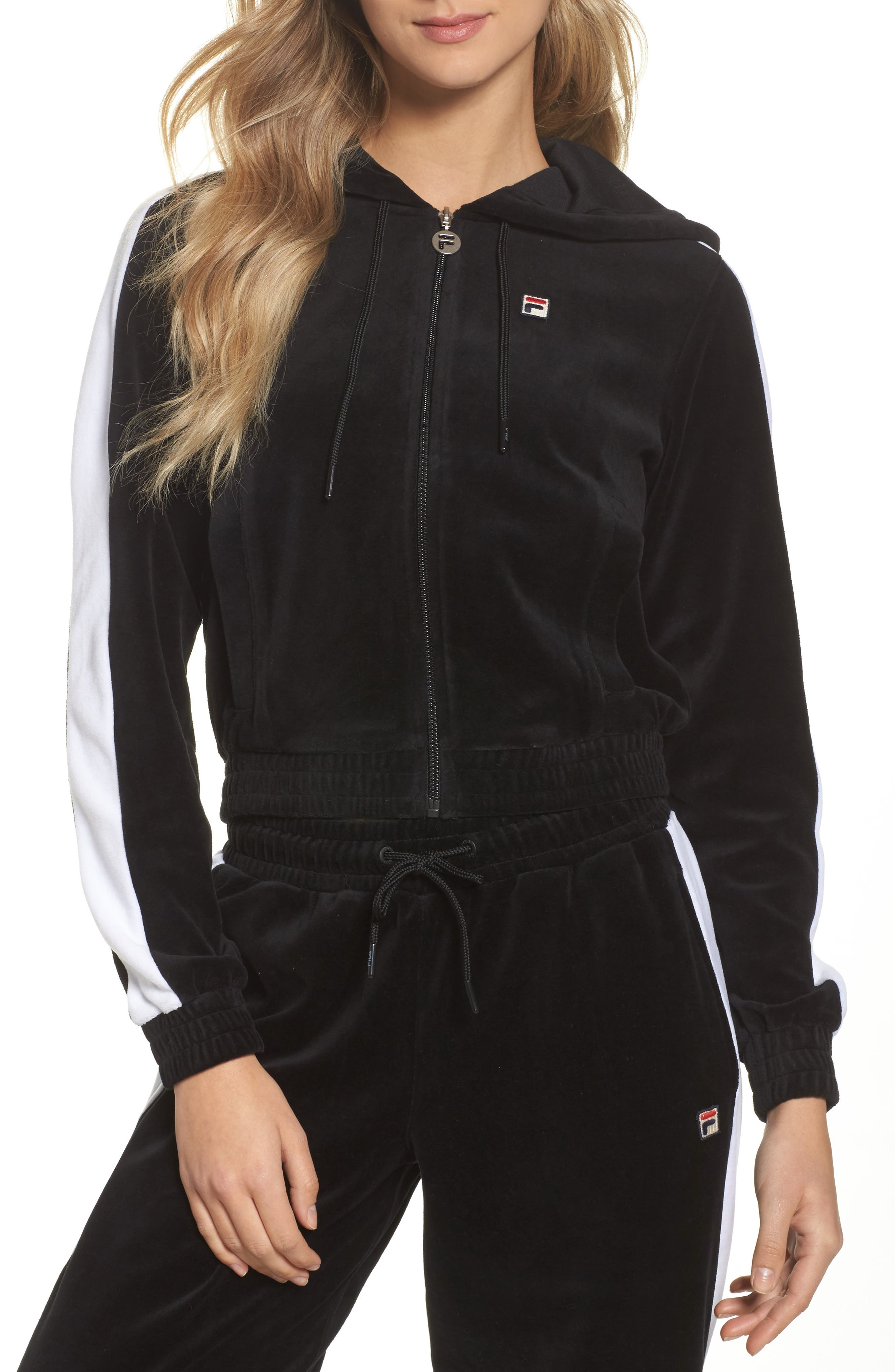 Carly Velour Hoodie,                             Alternate thumbnail 4, color,                             001