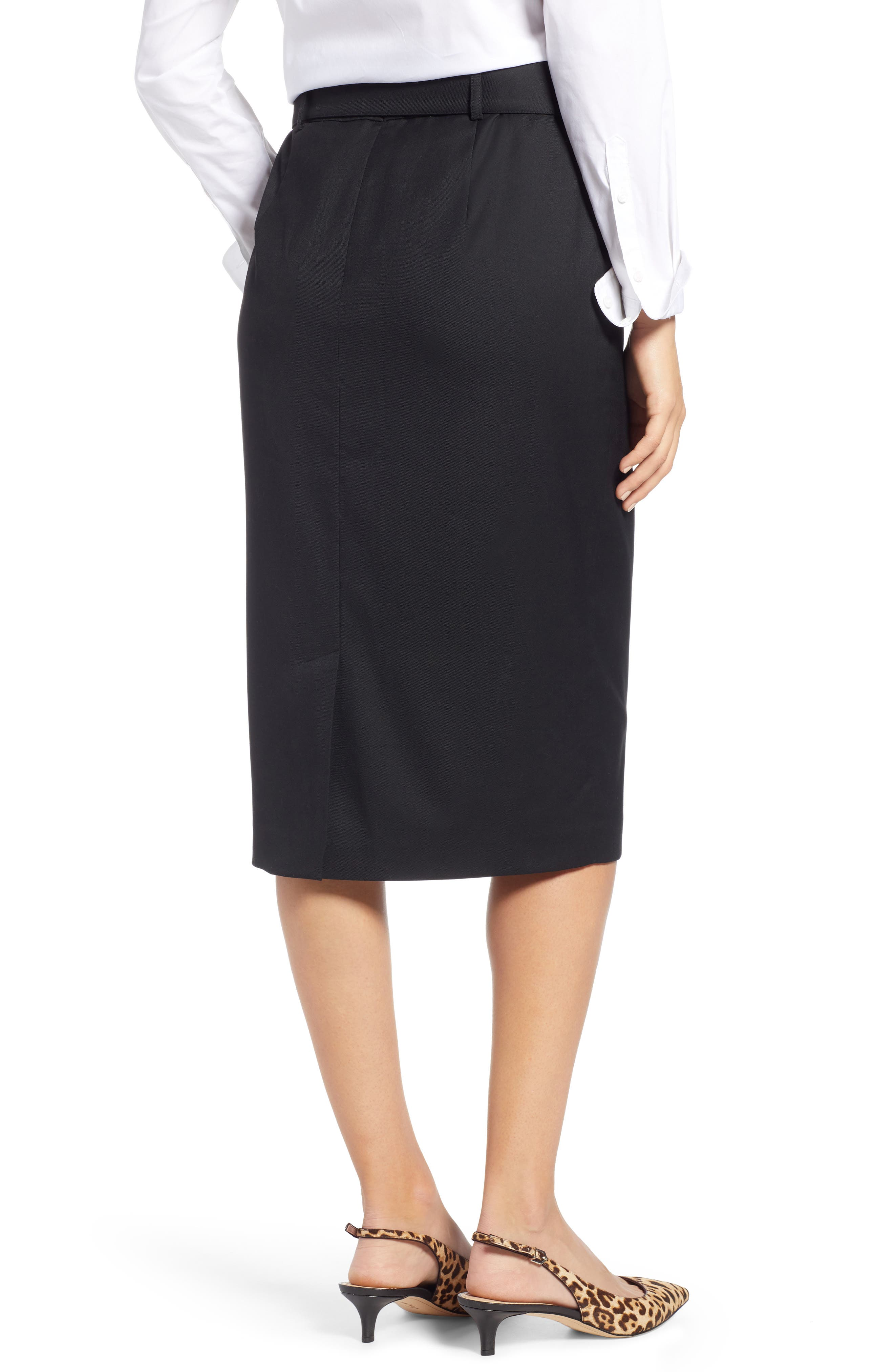 Belted Pencil Skirt,                             Alternate thumbnail 2, color,                             001