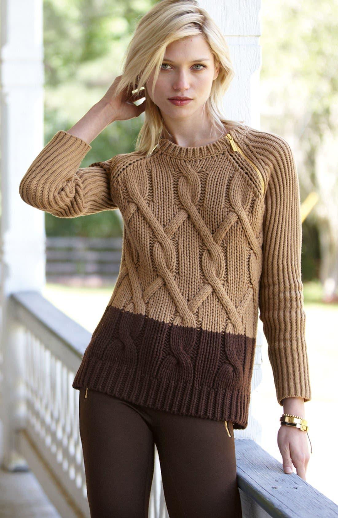 Zip Shoulder Colorblock Cable Sweater,                             Alternate thumbnail 4, color,                             103