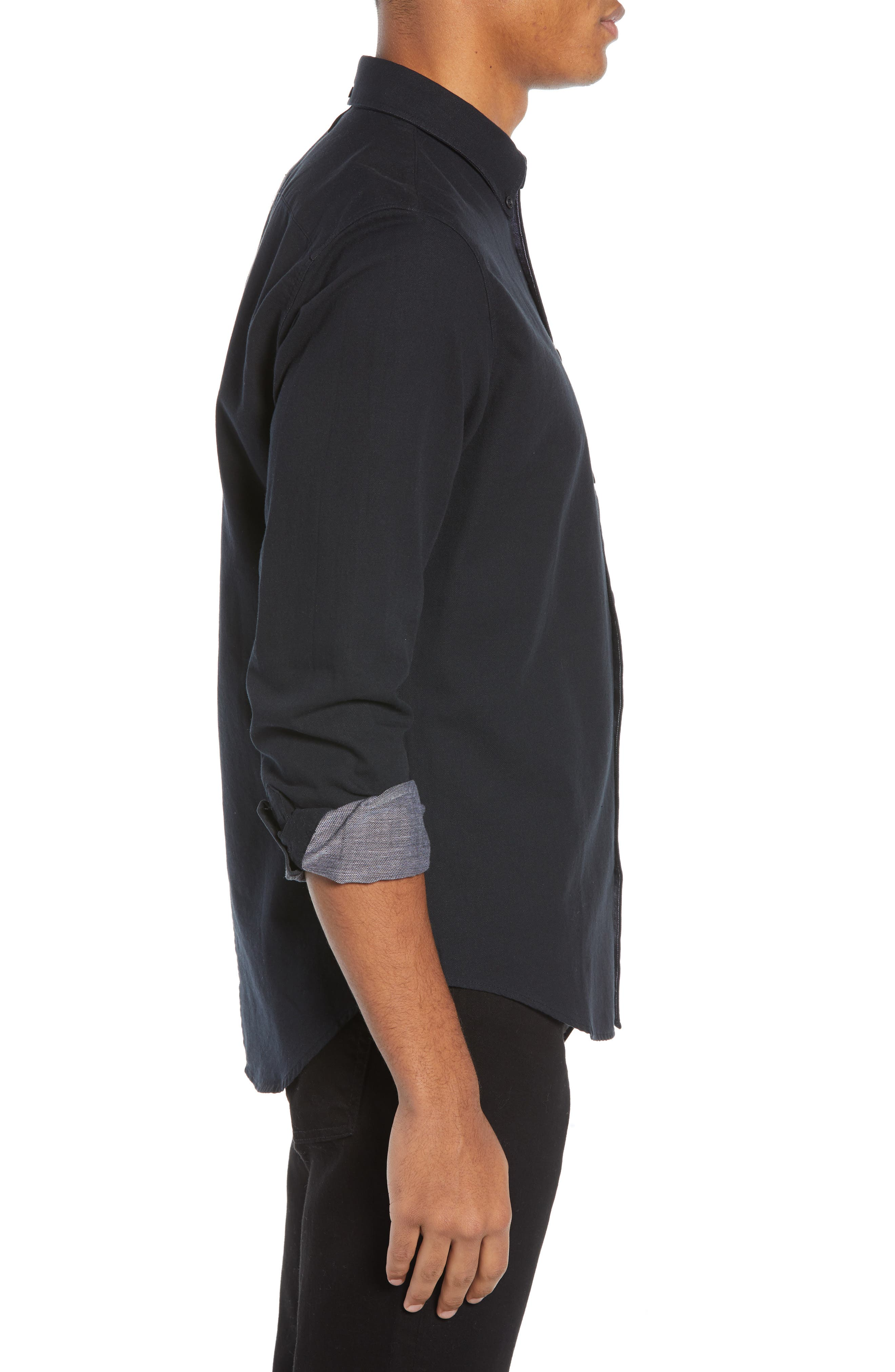 Fit 2 Slim Tomlin Sport Shirt,                             Alternate thumbnail 4, color,                             BLACK/ WHITE