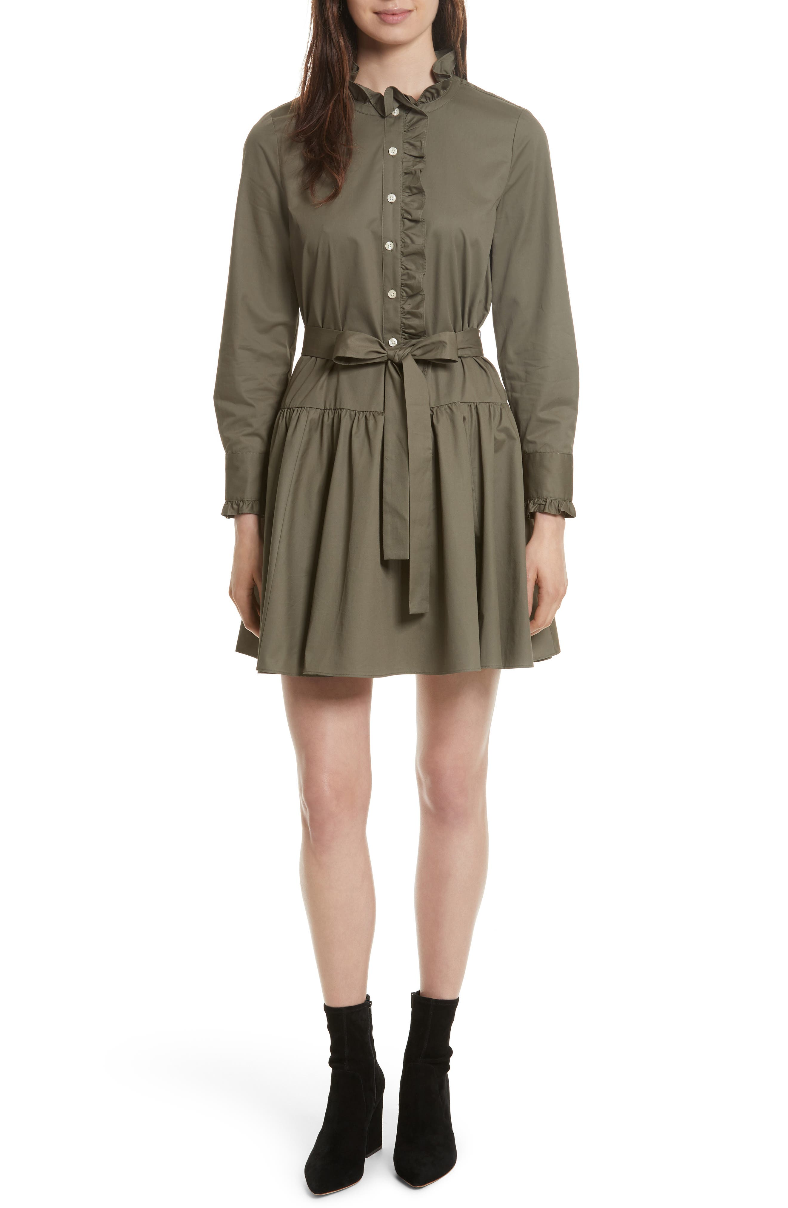 ruffle trim poplin shirtdress,                             Main thumbnail 1, color,                             301