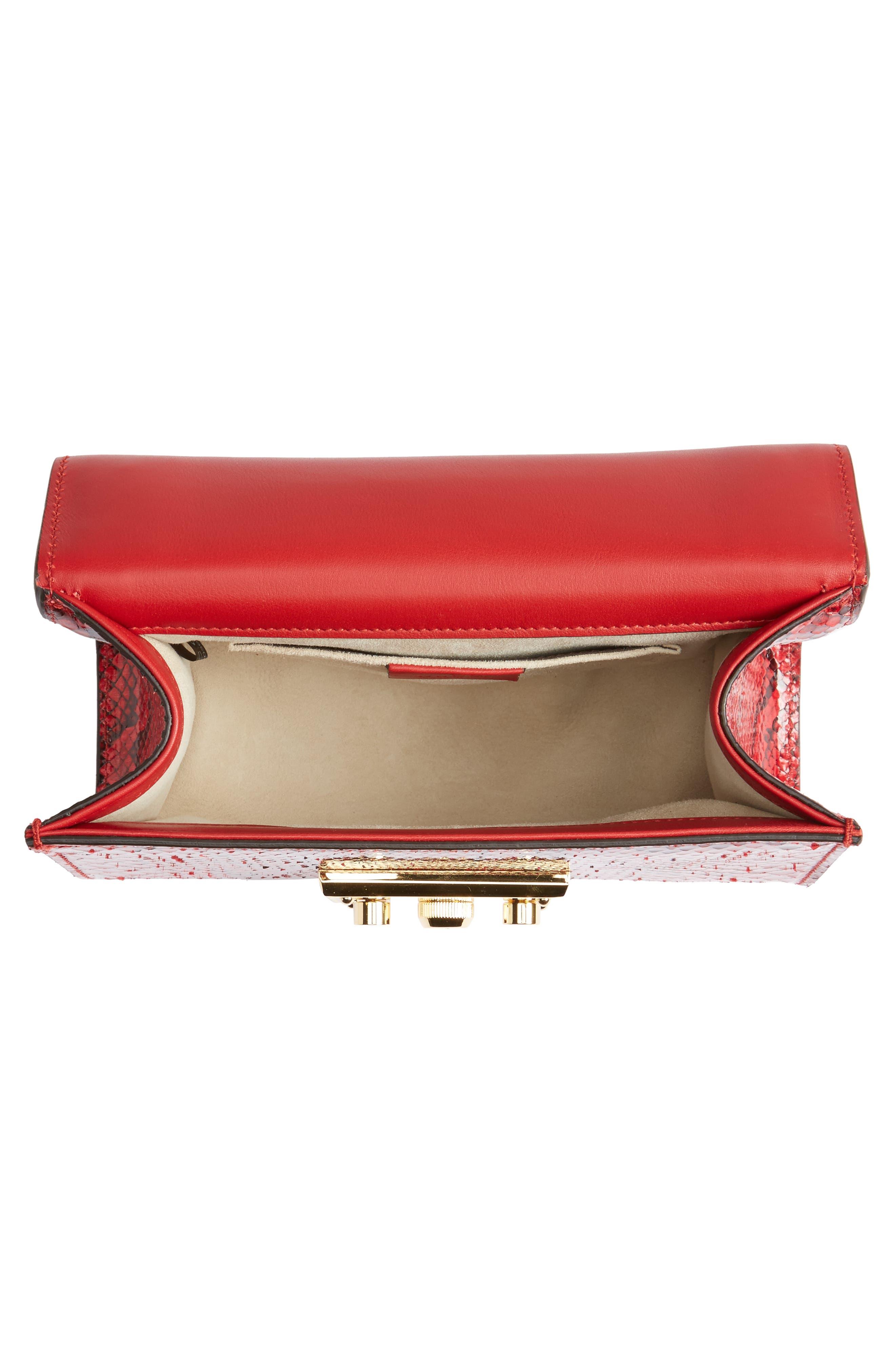 Small Padlock - Genuine Python Shoulder Bag,                             Alternate thumbnail 4, color,                             HIBISCUS RED