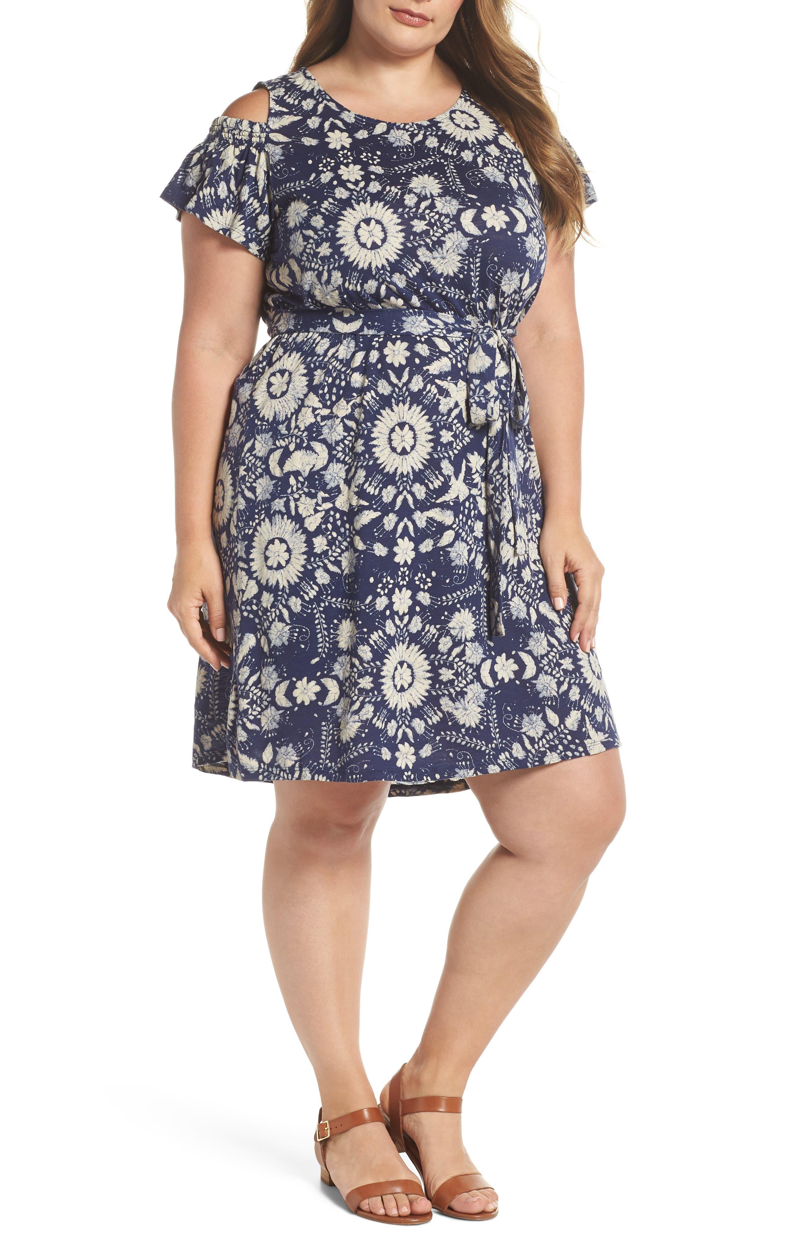 Cold Shoulder Print Belted Dress,                         Main,                         color, 460