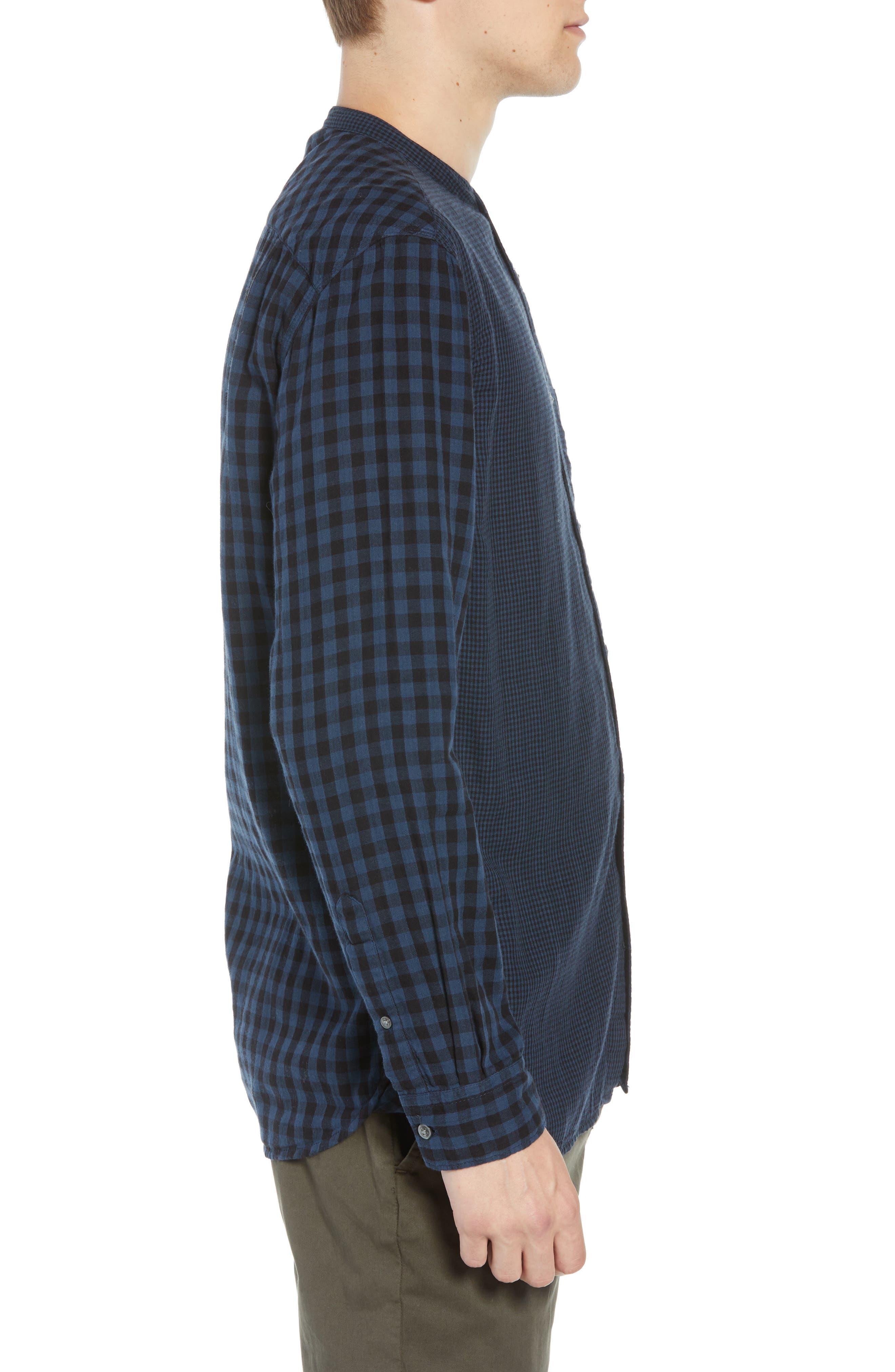 Double Gingham Shirt,                             Alternate thumbnail 4, color,                             BLACK IRIS