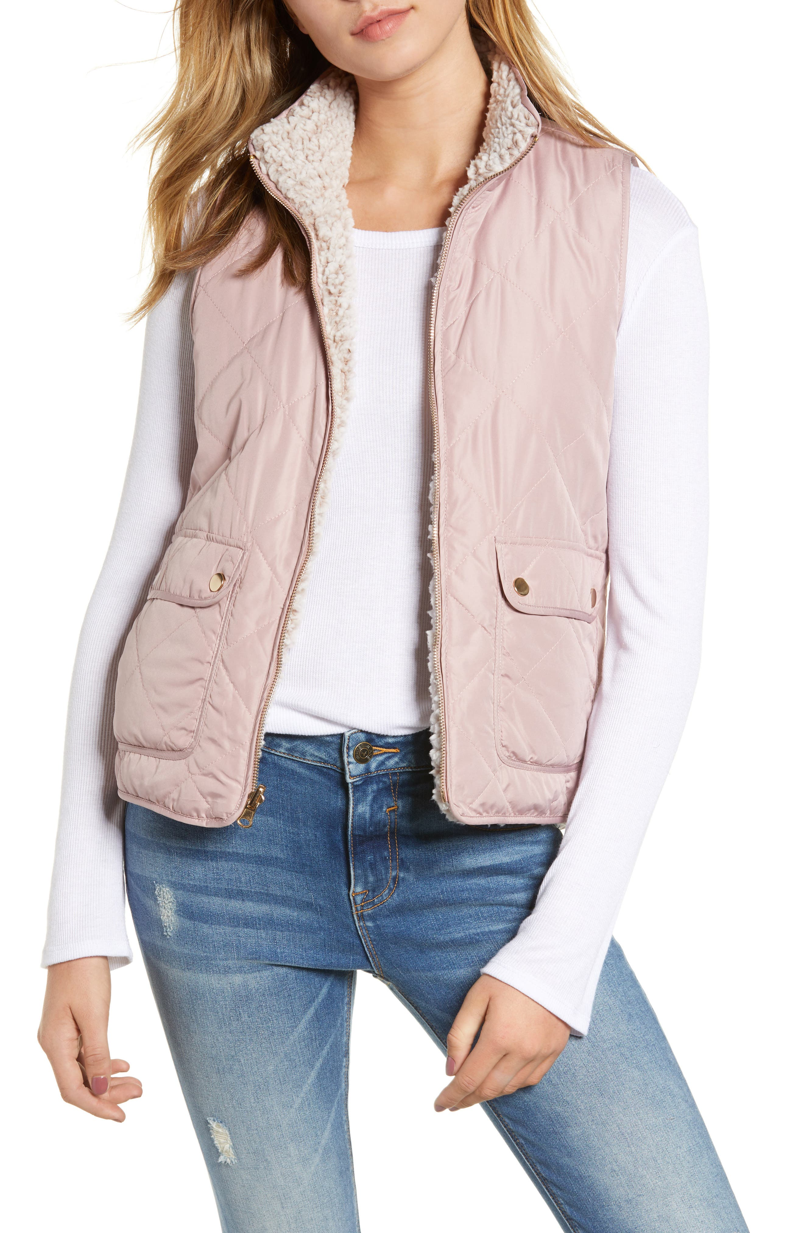 Thread & Supply Reversible Fleece Lined Quilted Vest, Pink