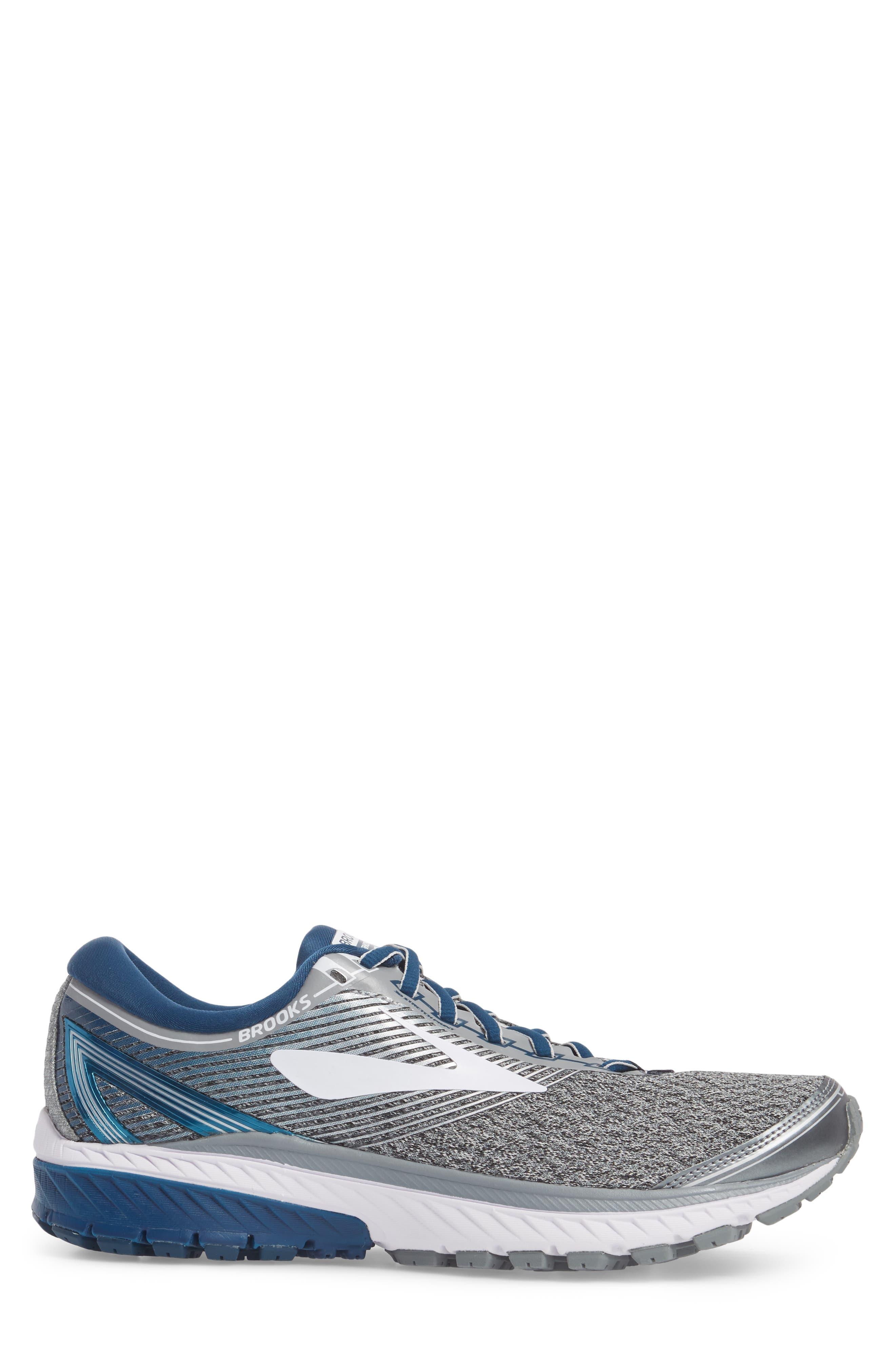 Ghost 10 Running Shoe,                             Alternate thumbnail 3, color,                             SILVER/ BLUE/ WHITE