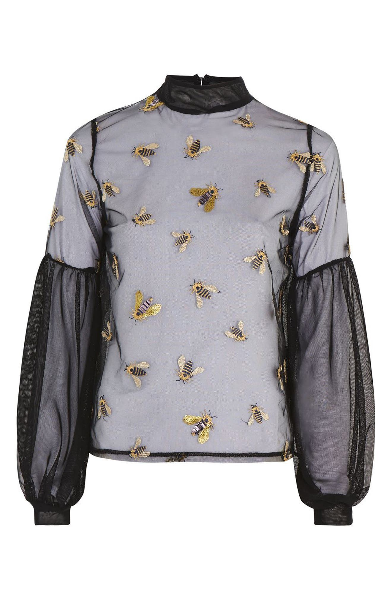Embellished Bee Mesh Blouse,                             Alternate thumbnail 3, color,                             001