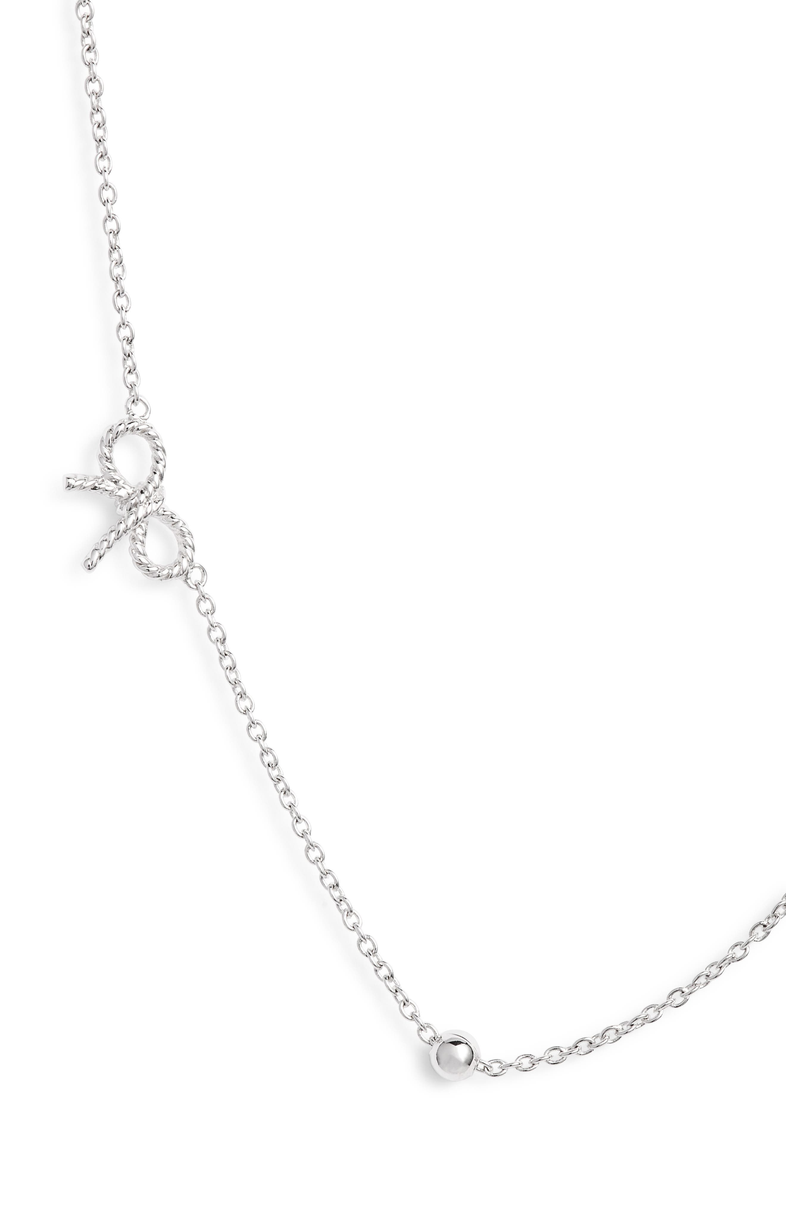 Bow Chain Necklace,                         Main,                         color, SILVER