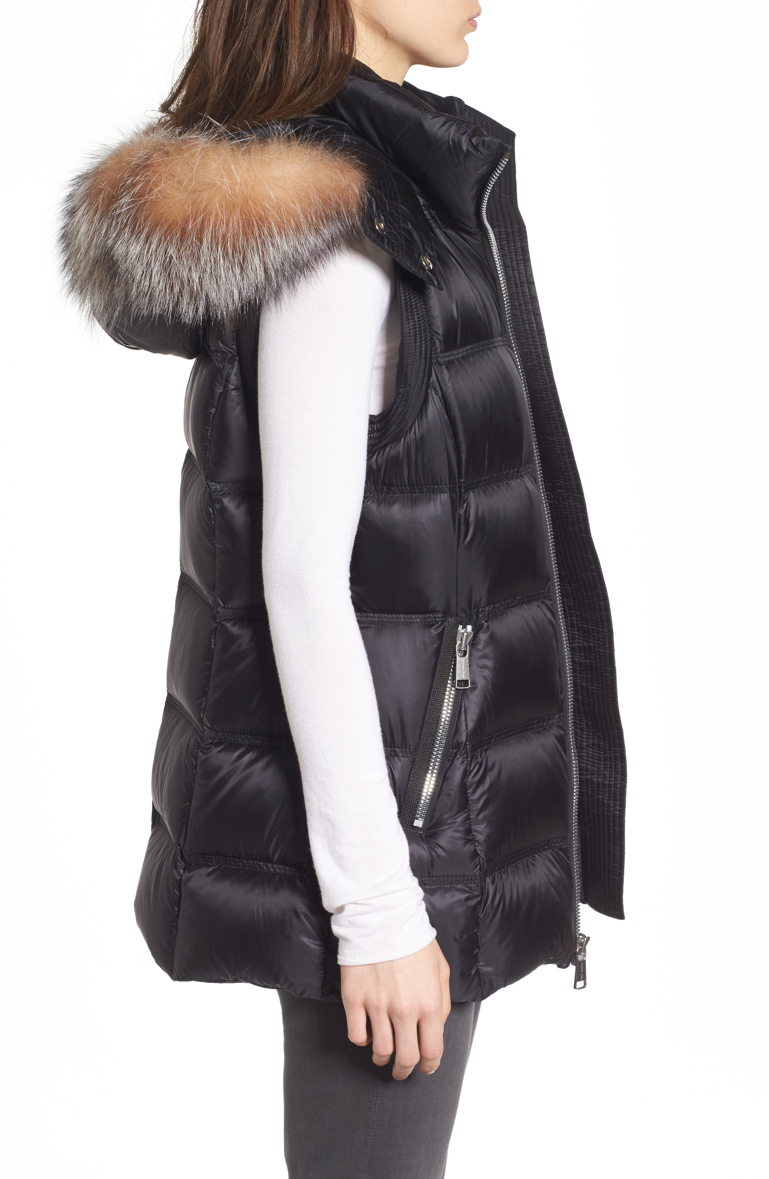 Cambridge Genuine Rabbit Fur & Leather Jacket,                             Alternate thumbnail 3, color,                             001