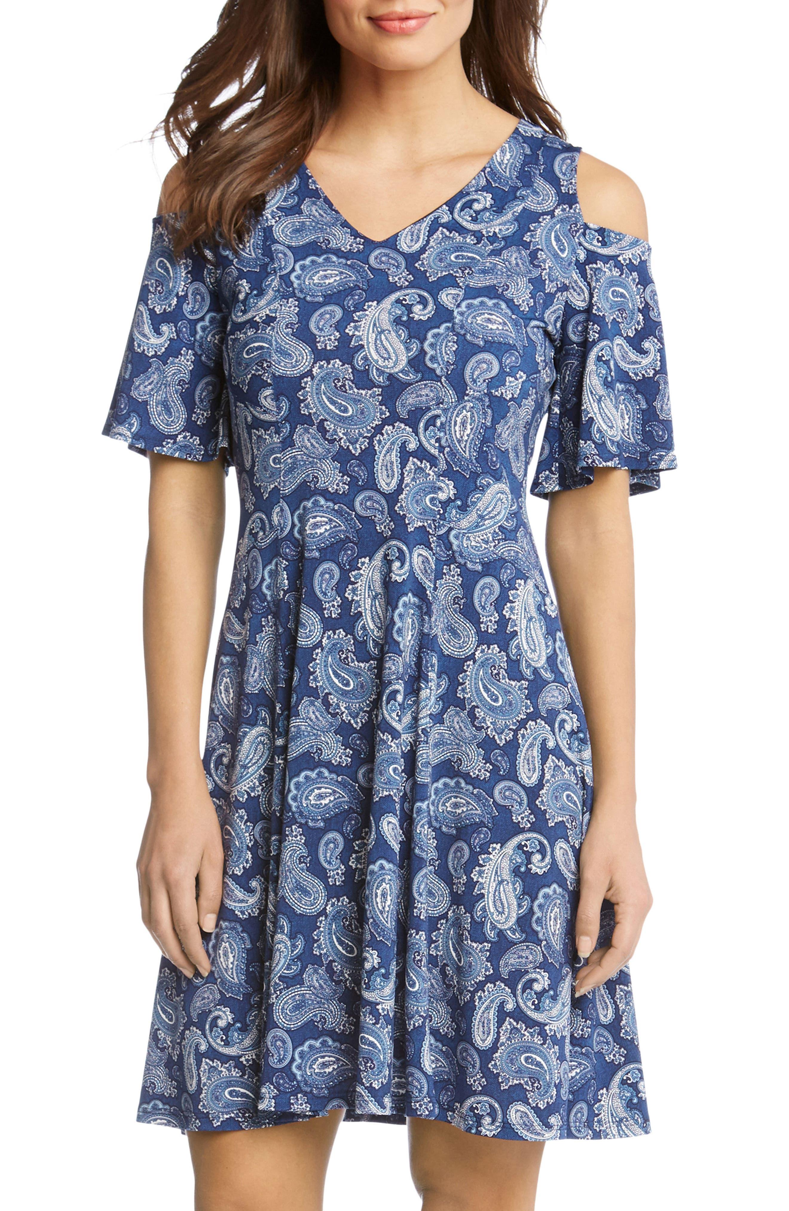 Cold Shoulder Paisley Dress,                             Alternate thumbnail 4, color,                             417