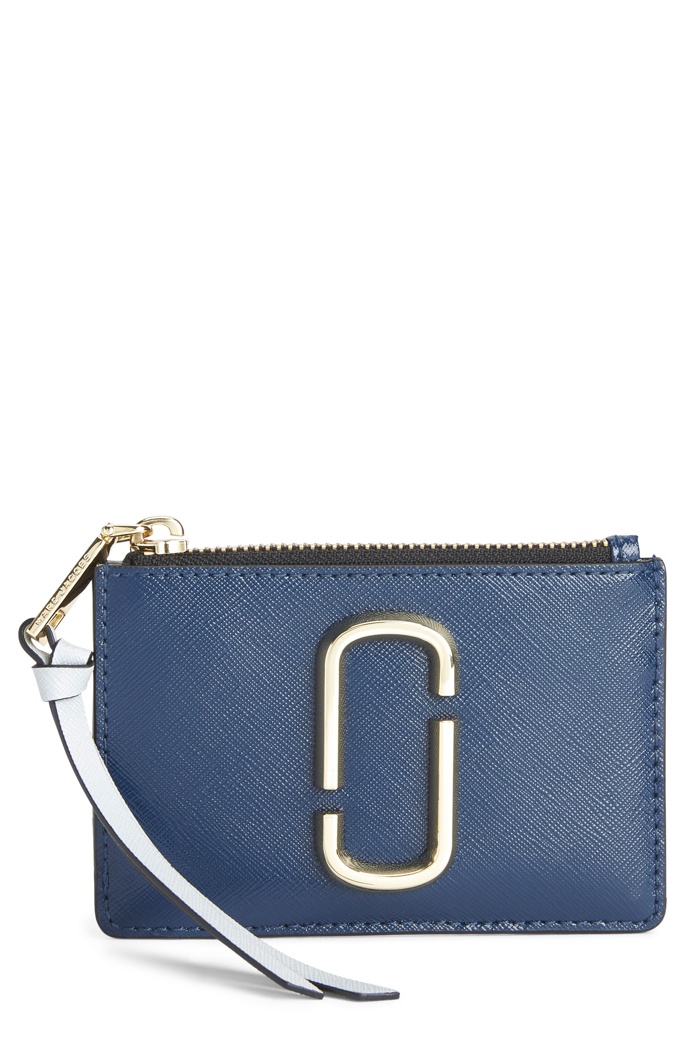 Snapshot Small Leather Wallet,                             Main thumbnail 1, color,                             BLUE SEA MULTI
