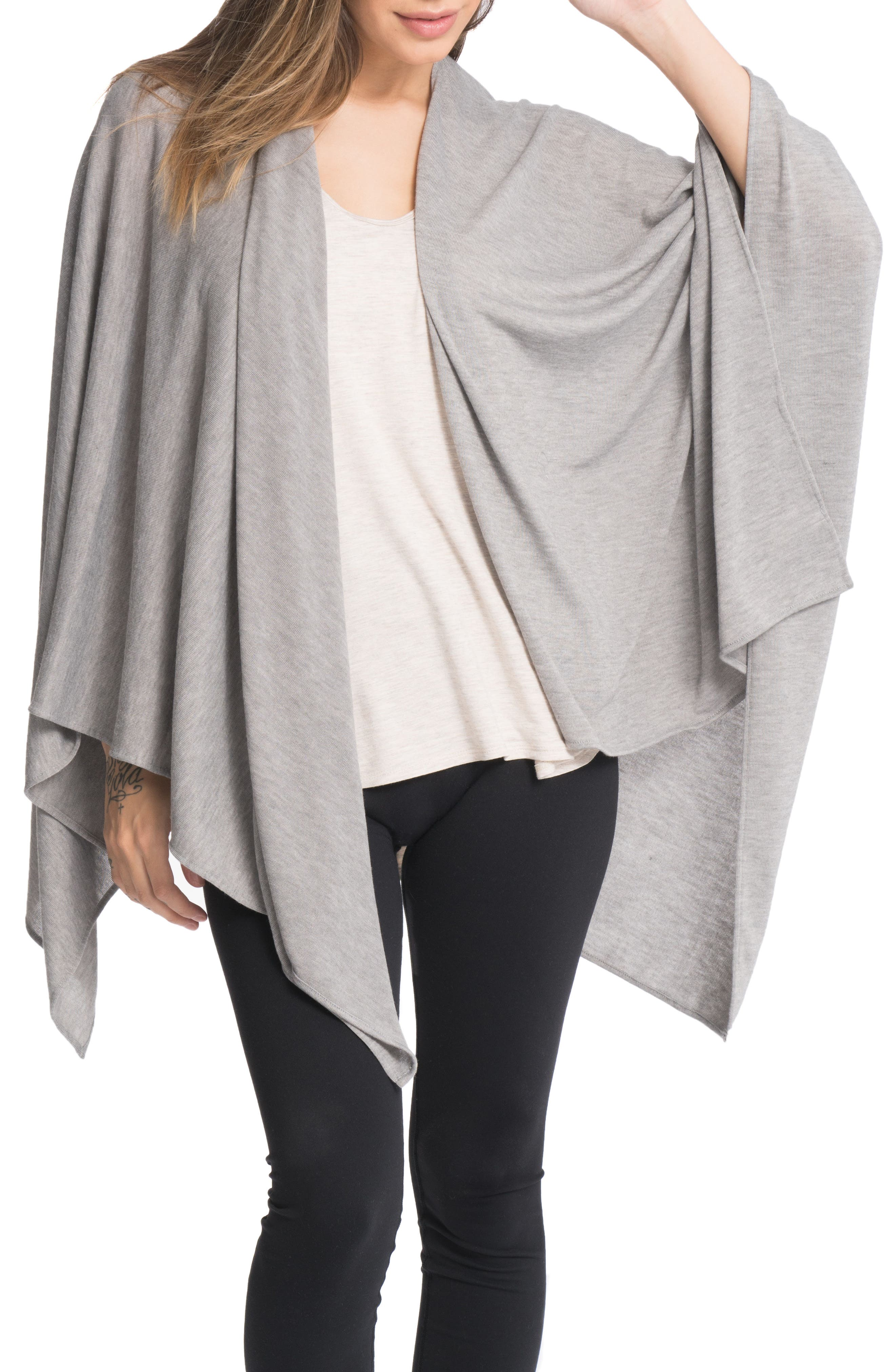 Cozy Up Three-Way Maternity/Nursing Wrap,                             Alternate thumbnail 3, color,                             HEATHER GREY