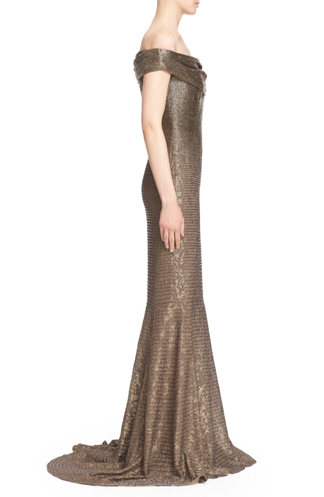 CARMEN MARC VALVO COUTURE,                             Beaded Off the Shoulder Lace Mermaid Gown,                             Alternate thumbnail 4, color,                             710