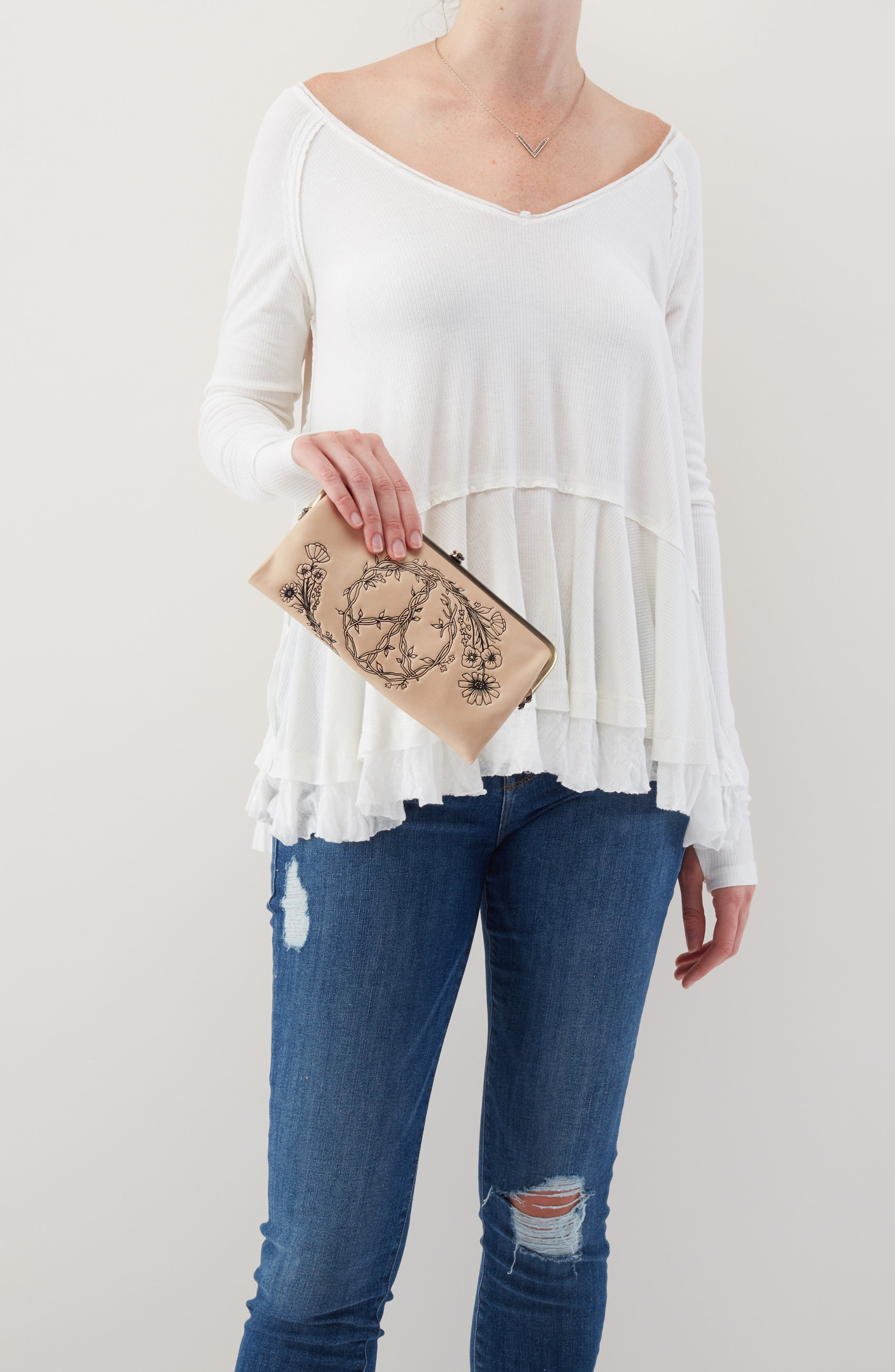 HOBO,                             Lauren Floral Peace Leather Clutch,                             Alternate thumbnail 3, color,                             PARCHMENT