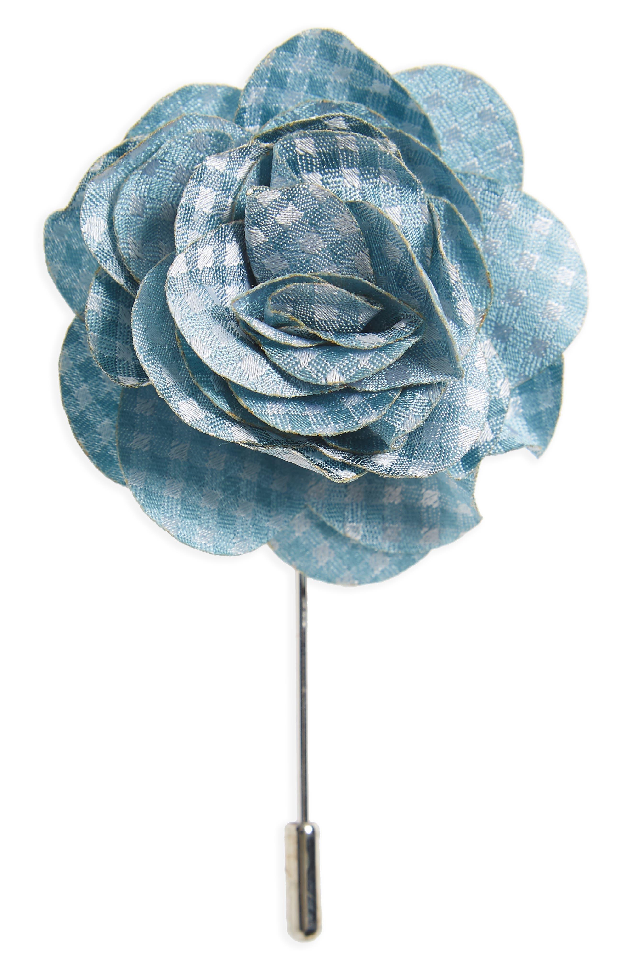 Married Checks Silk Lapel Flower Pin,                             Main thumbnail 2, color,