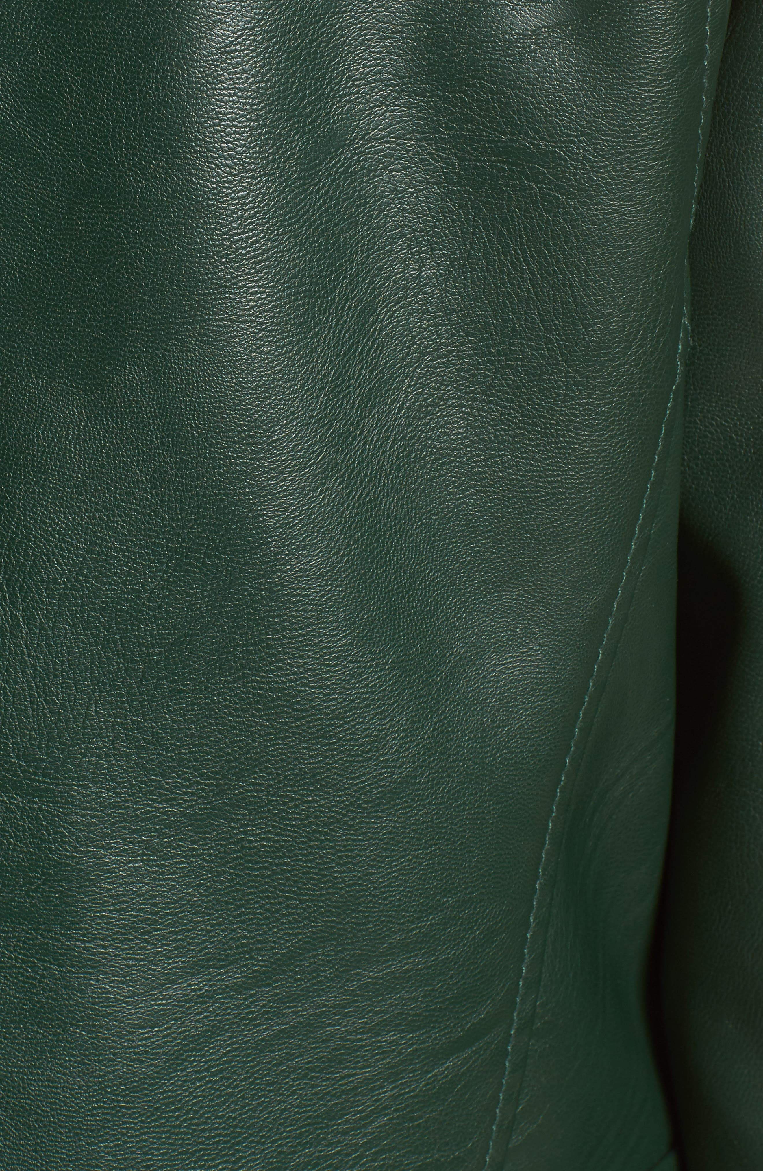 Faux Leather Moto Jacket,                             Alternate thumbnail 7, color,                             HUNTER GREEN