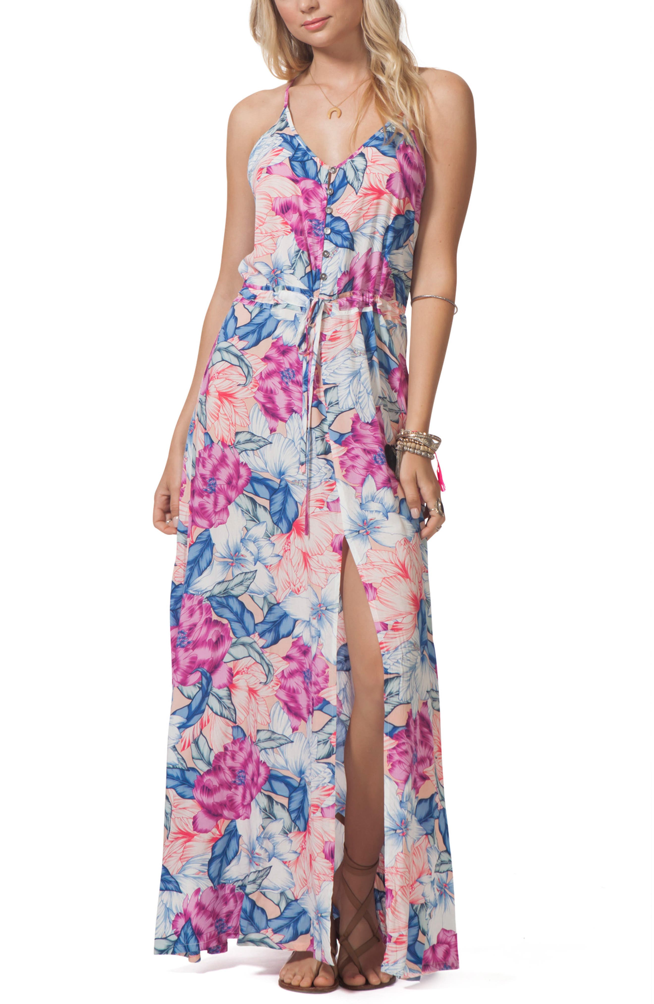 Floral Print Maxi Dress,                             Main thumbnail 1, color,                             650