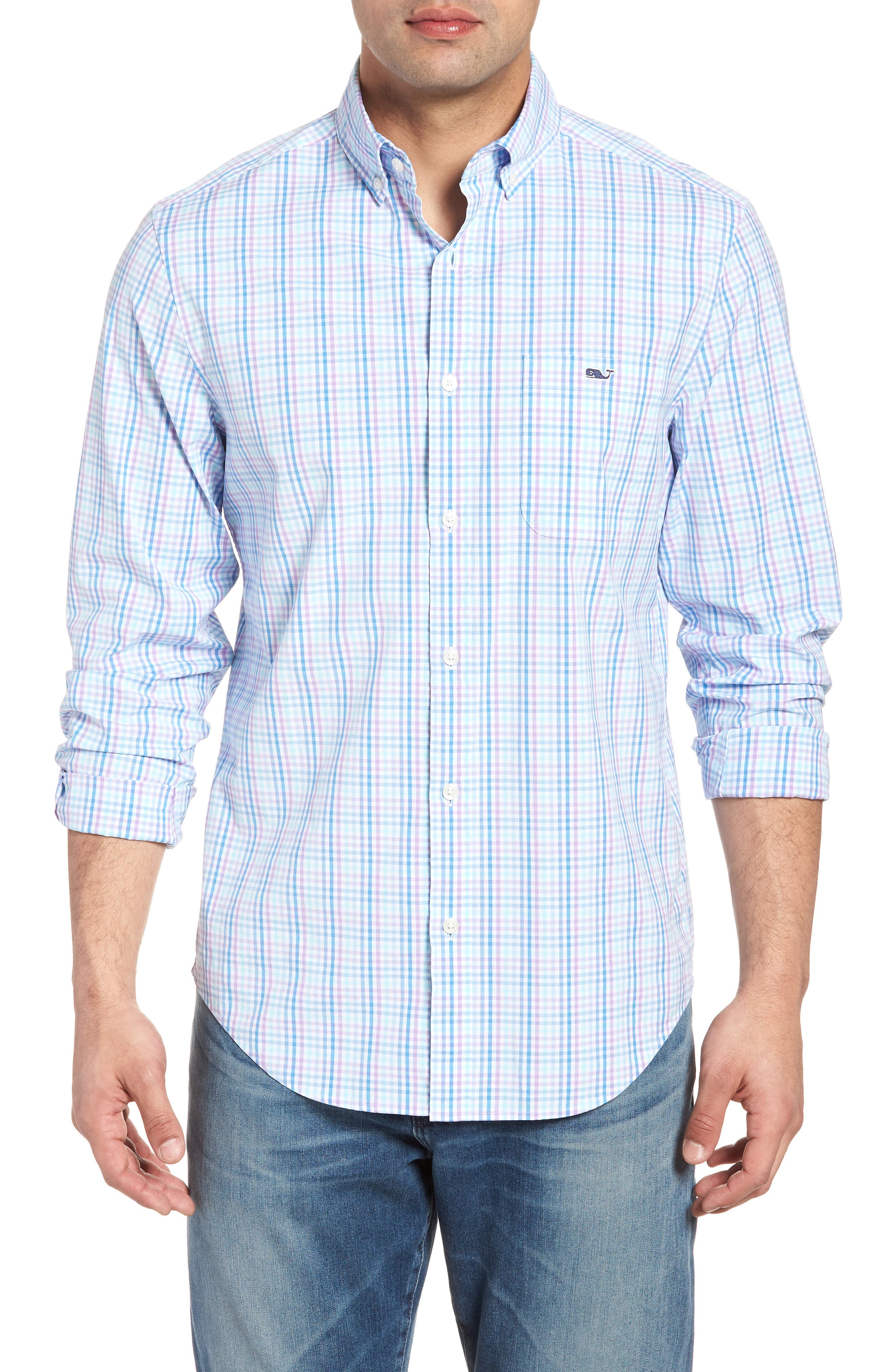 Friendly Island Classic Fit Stretch Check Sport Shirt,                         Main,                         color, 526