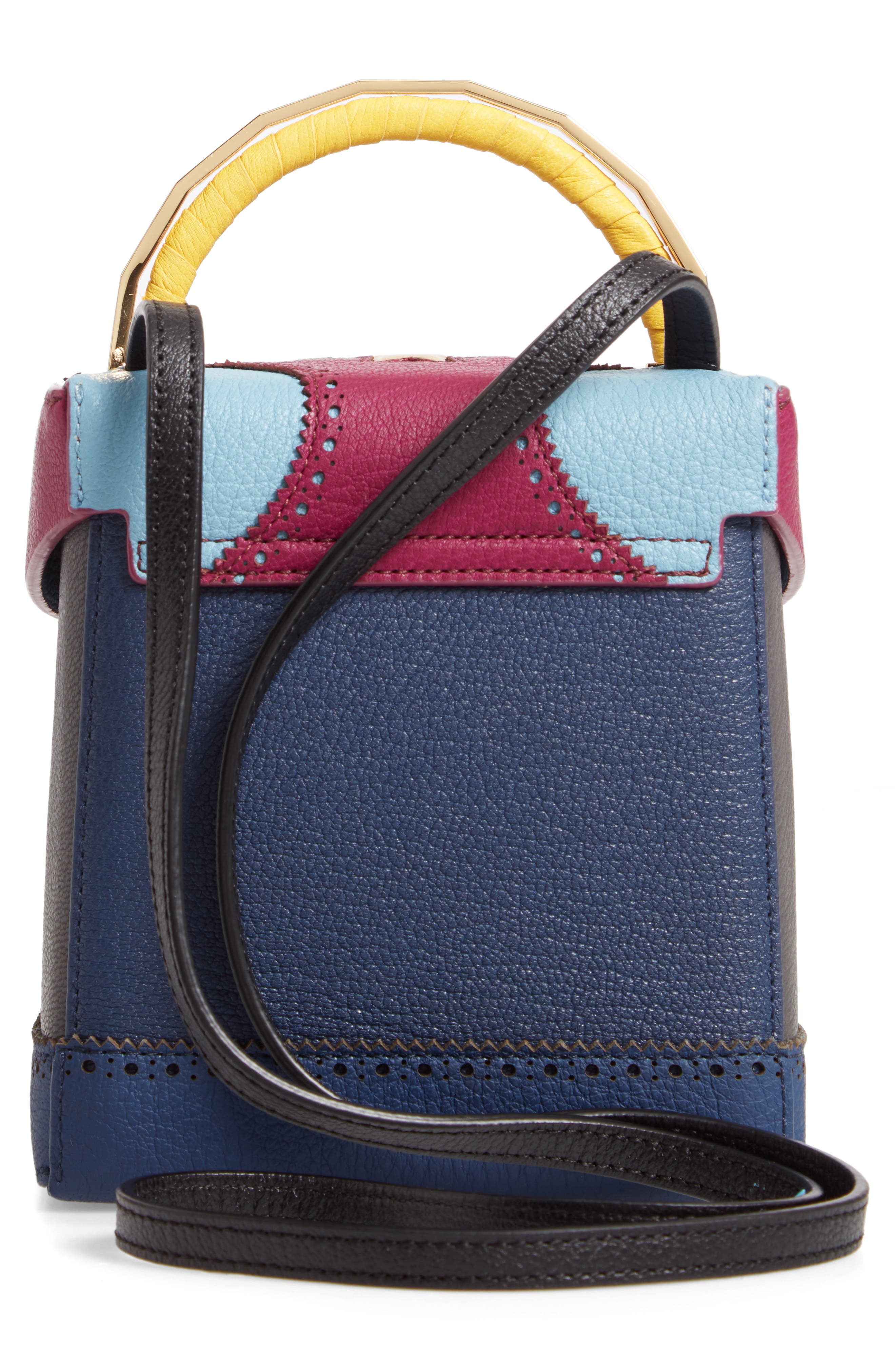 Great Alice Leather Box Bag,                             Alternate thumbnail 3, color,                             VIOLET/ SKY