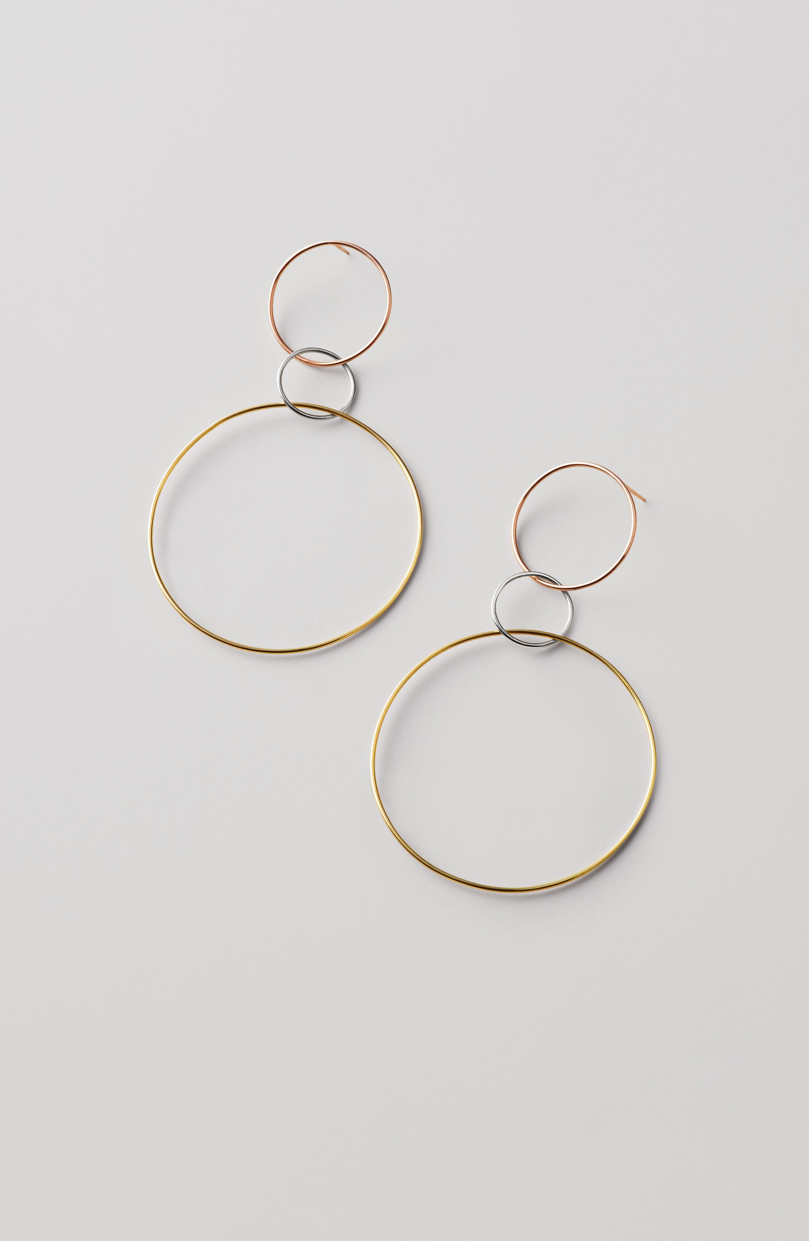 Tri-Tone Three Hoop Wire Drop Earrings,                             Alternate thumbnail 4, color,                             THREE TONE MIX