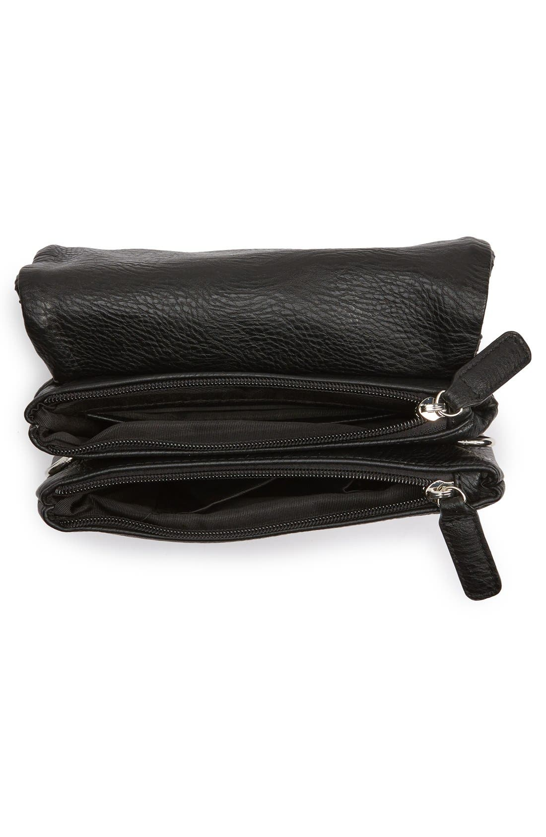 Woven Faux Leather Crossbody Bag,                             Alternate thumbnail 2, color,                             001