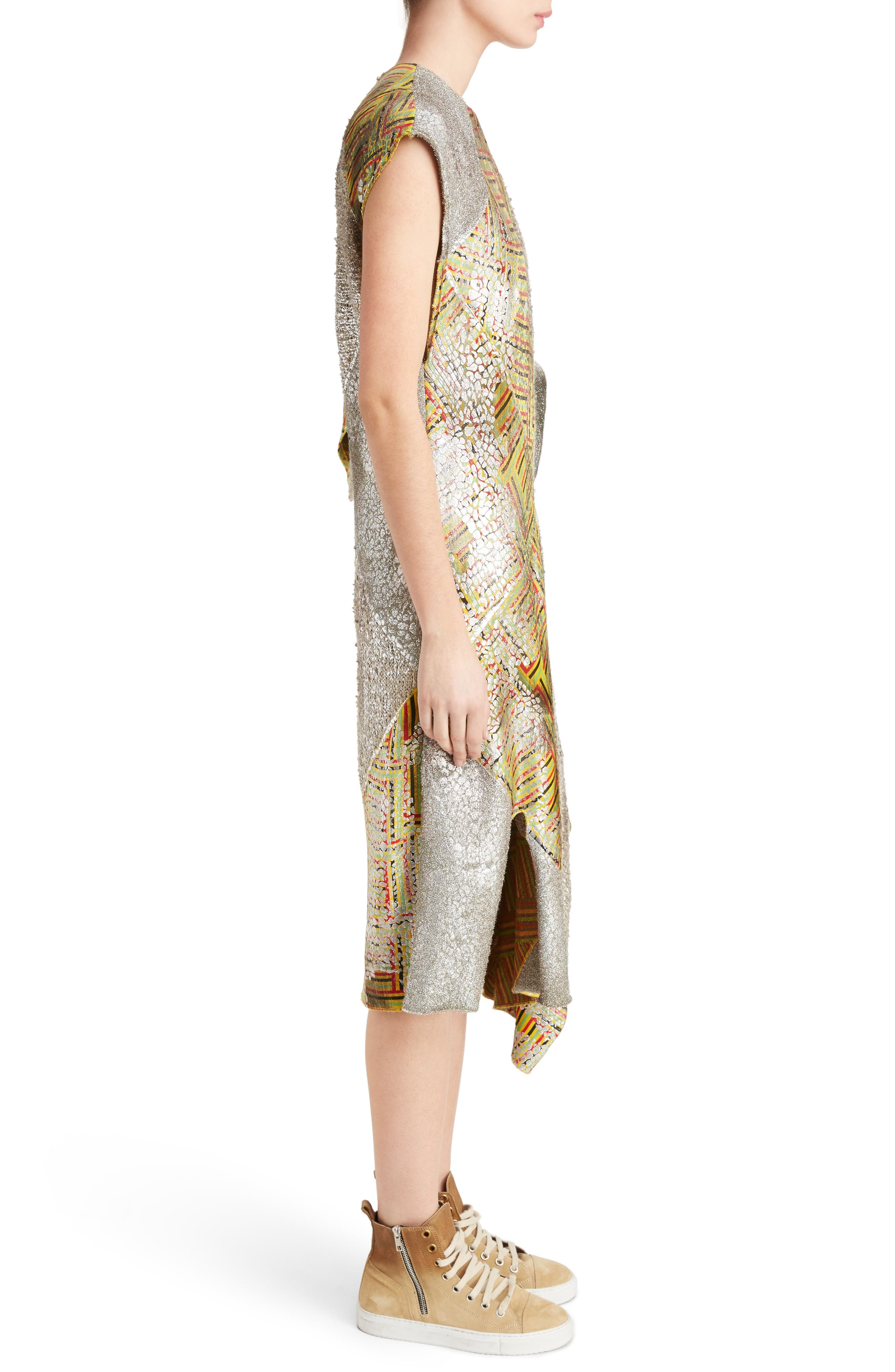 J.W.ANDERSON Geo Patterned Asymmetrical Draped Dress,                             Alternate thumbnail 3, color,                             040