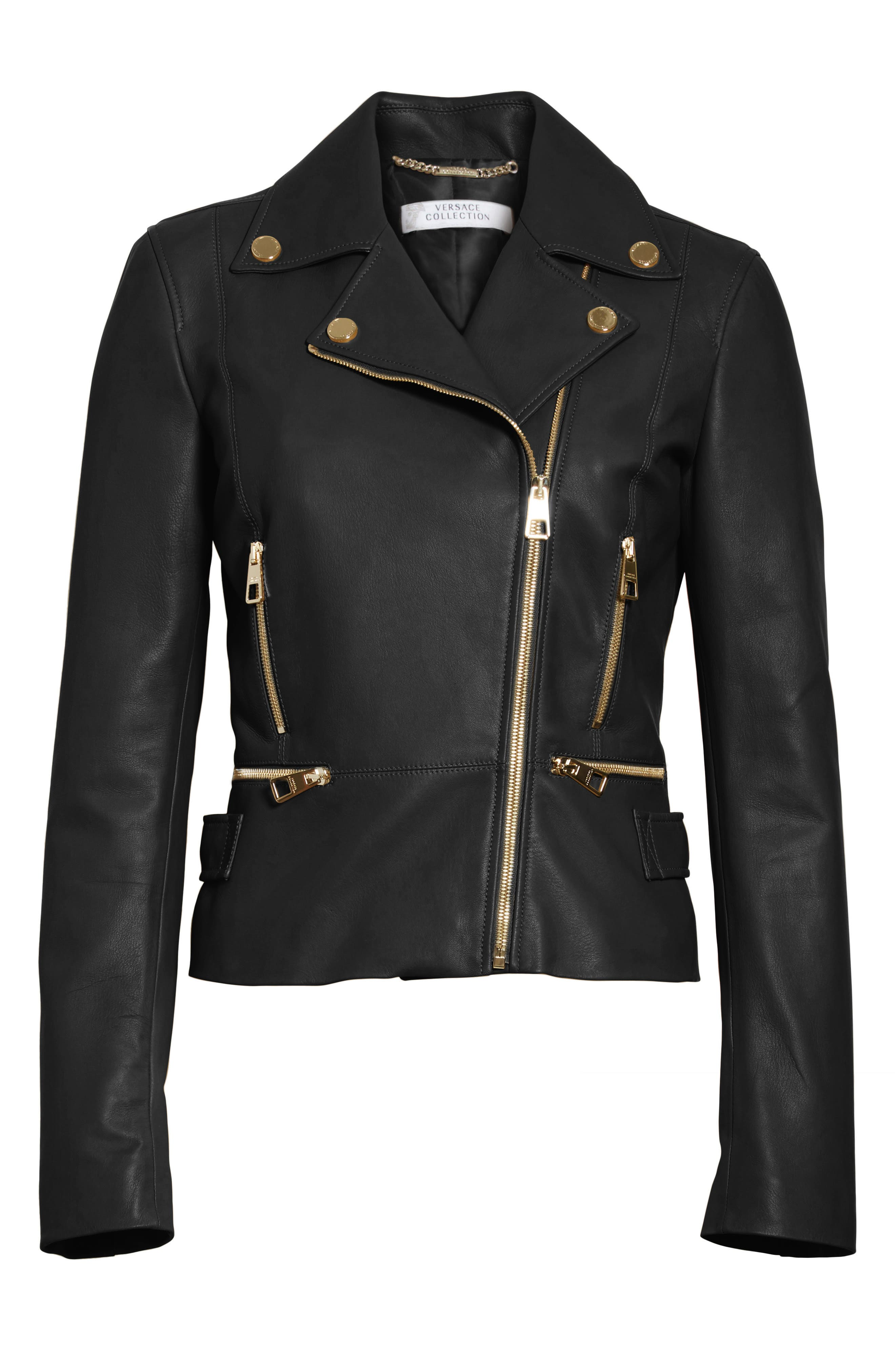Nappa Leather Jacket,                             Alternate thumbnail 5, color,                             001