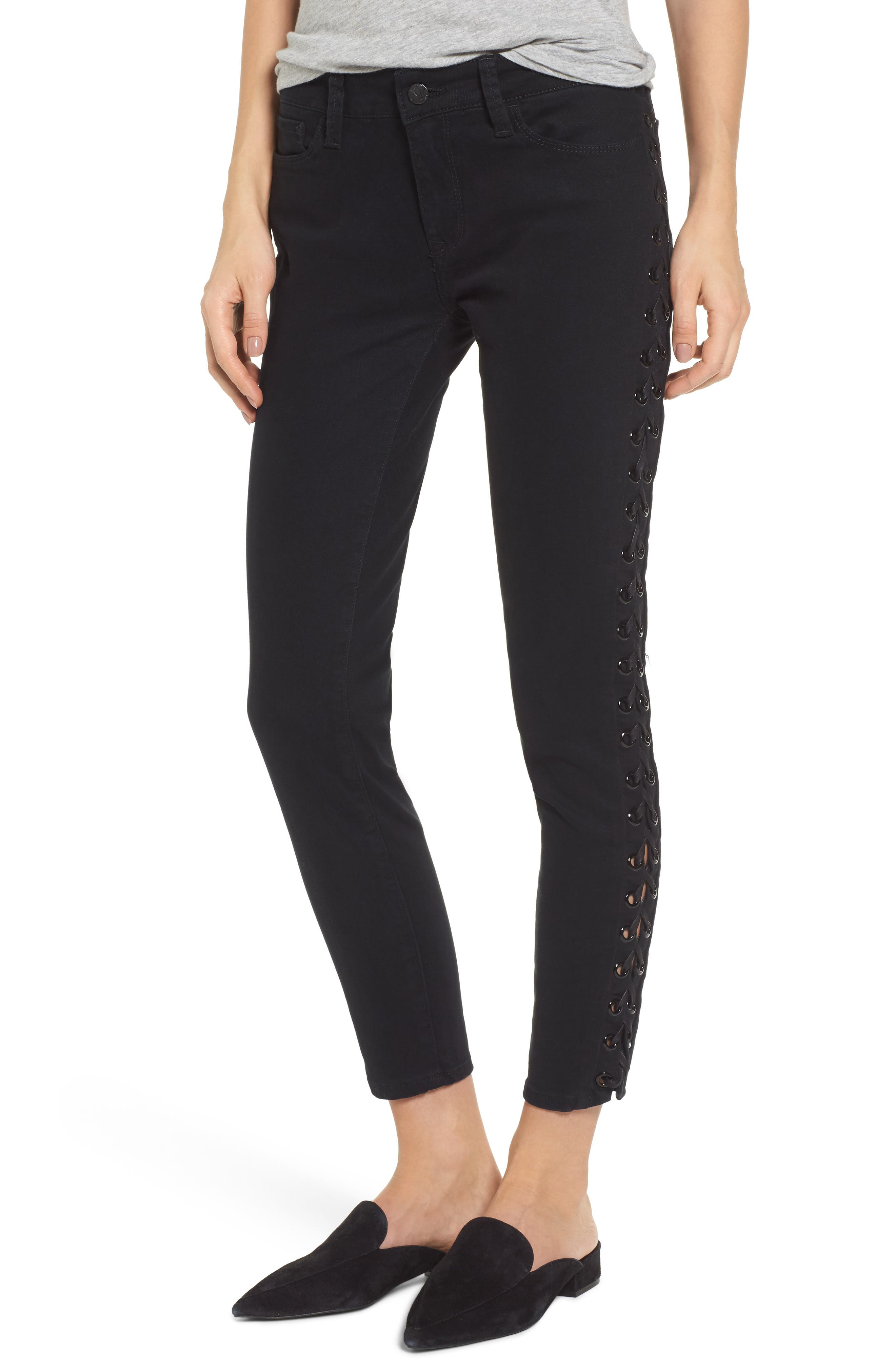 Adriana Lace-Up Super Skinny Jeans,                             Main thumbnail 1, color,                             001