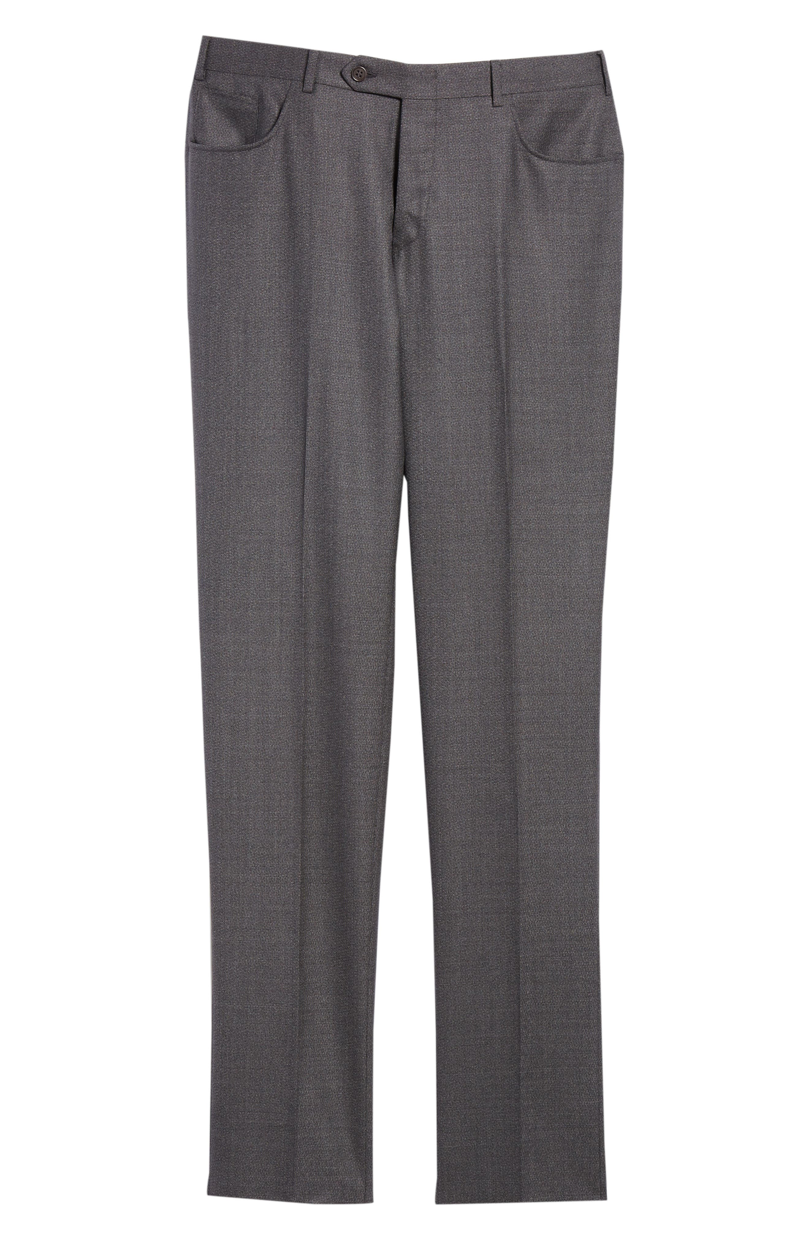 Flat Front Solid Wool Trousers,                             Alternate thumbnail 6, color,                             CHARCOAL