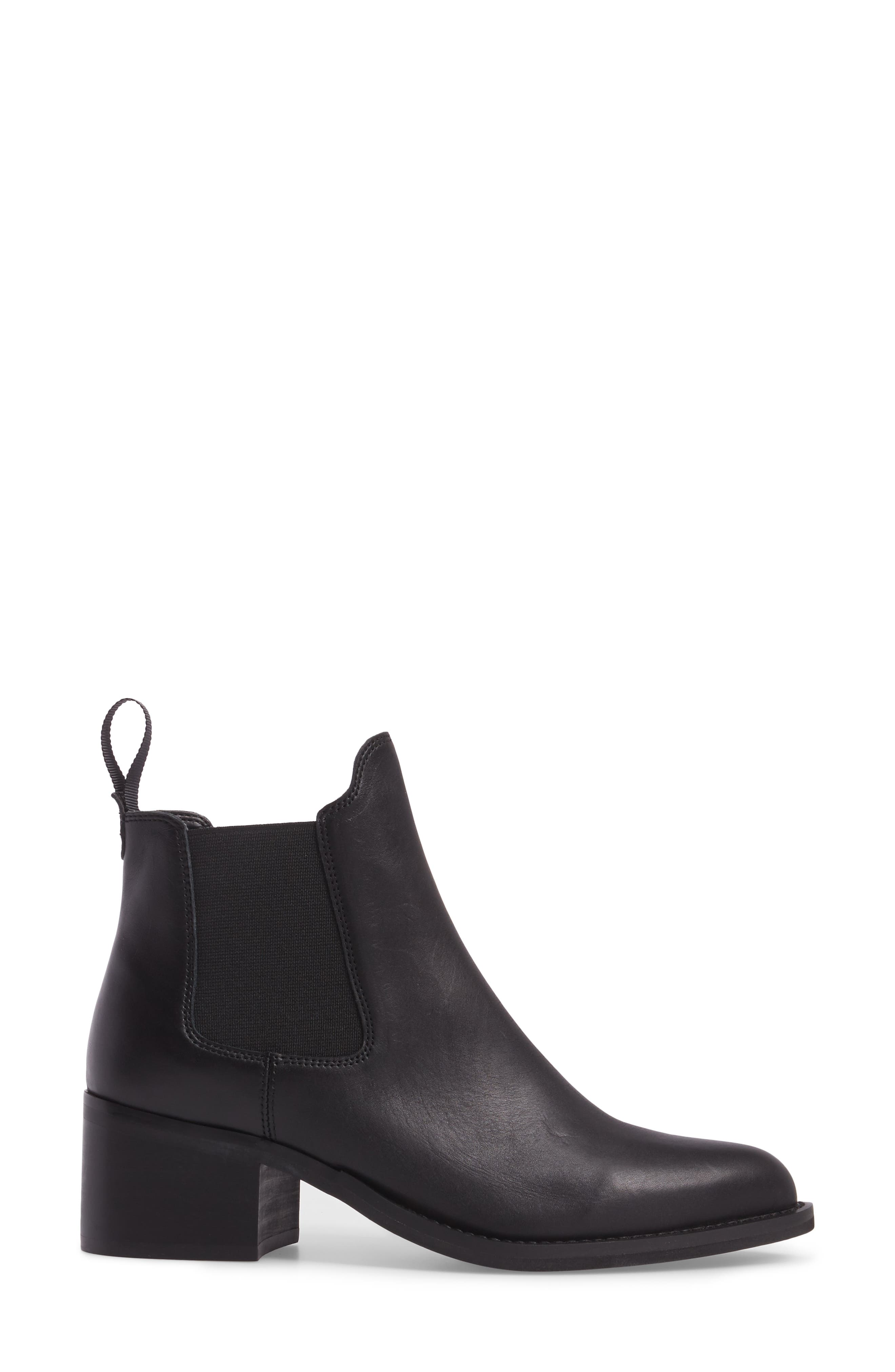 Fraya Ankle Bootie,                             Alternate thumbnail 3, color,                             BLACK LEATHER